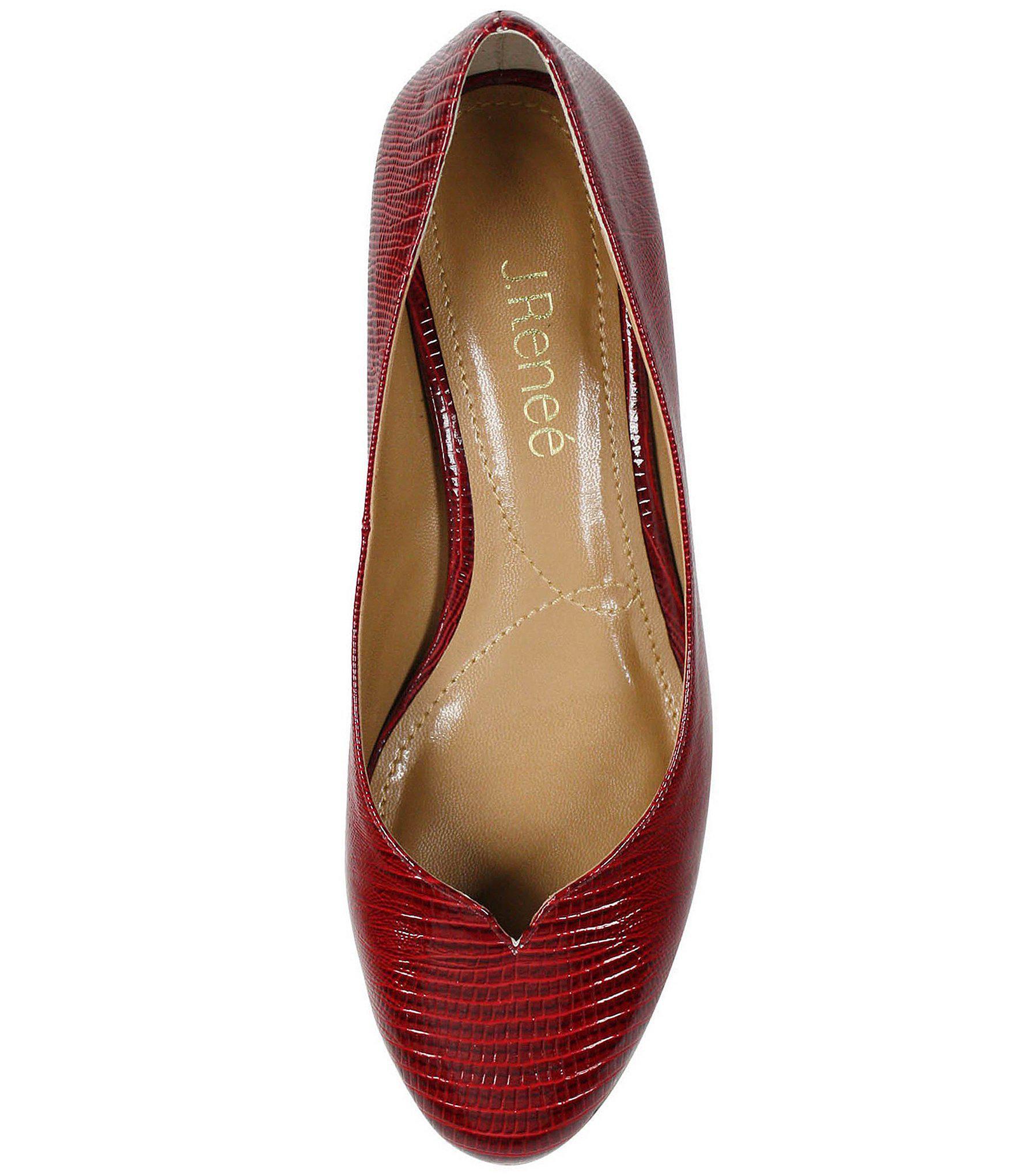 f2de1f5f4a2 Lyst - J. Reneé Bambalina Lizard Print Patent Leather Pumps in Red