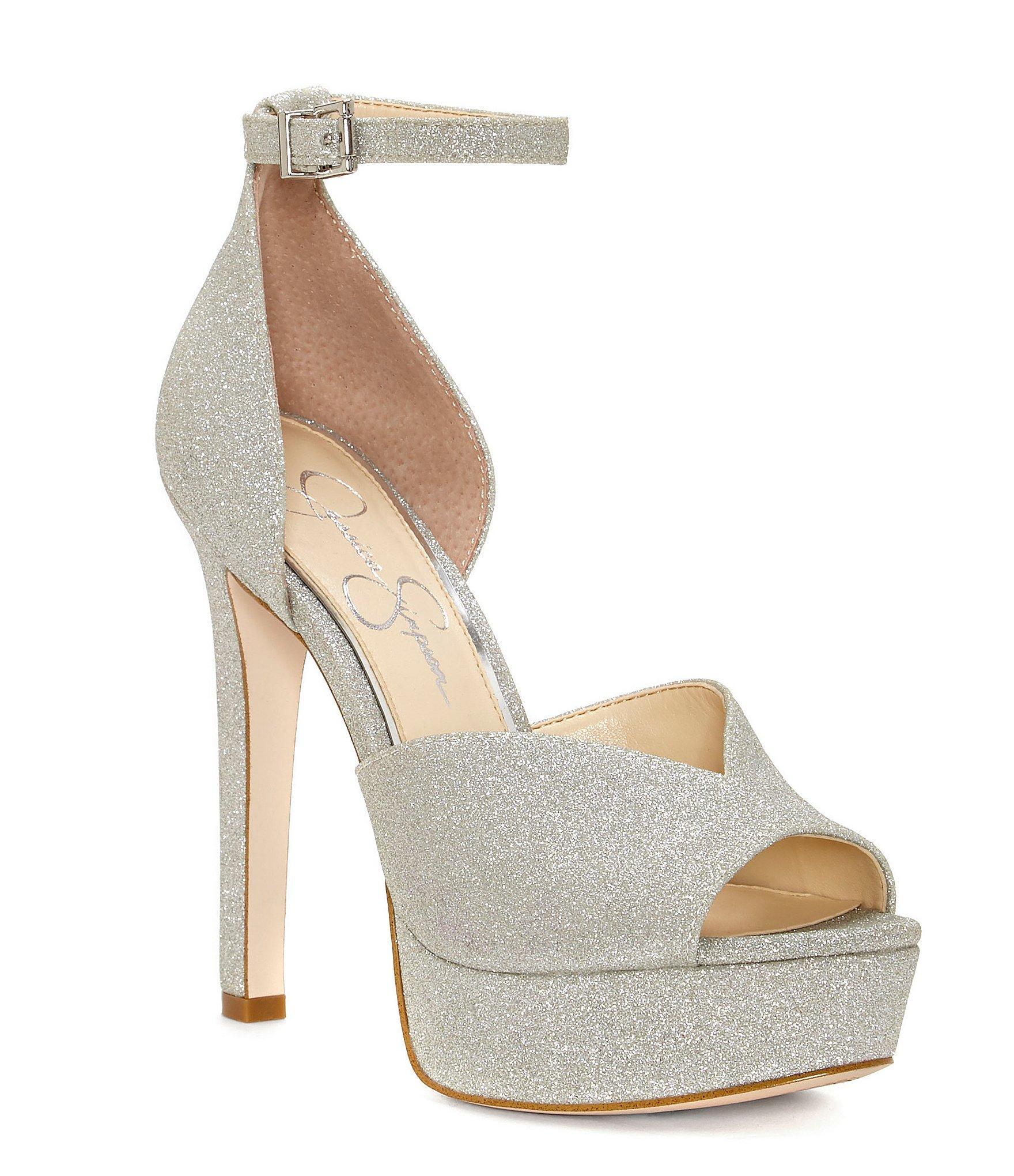 92a5994c6b Jessica Simpson Briya Micro Glitter Peep Toe Platform With Ankle ...