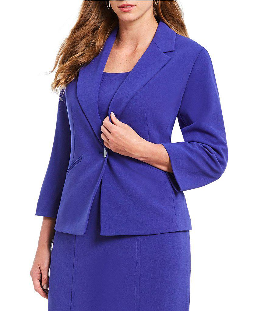89f6c297d29 Lyst - Kasper Plus Size Crepe Notch Collar Jacket in Purple