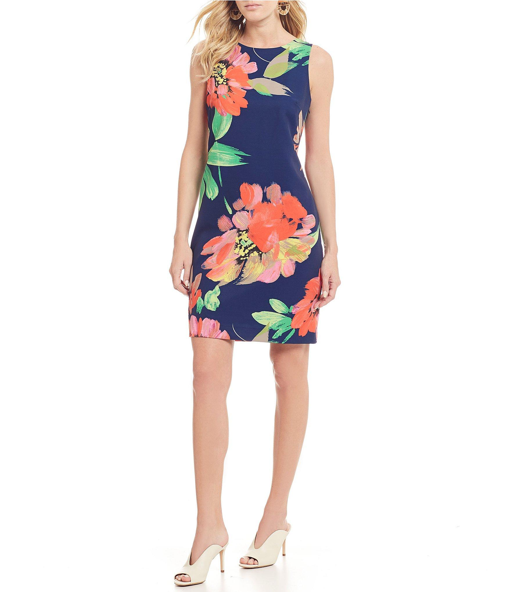 d6d3a4256a Lyst - Trina Turk Clemente Floral Print Bow Detail Sheath Dress in Blue
