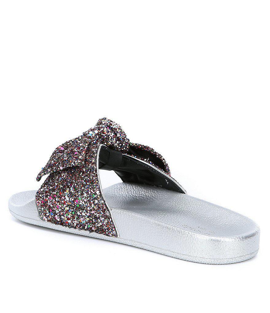 fb25025dc3bf Kate Spade Shellie Glitter Slide Sandals in Blue - Lyst