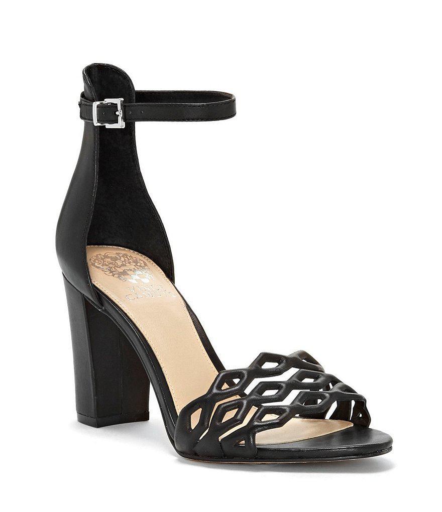 4e924b18523 Vince Camuto Caveena Leather Block Heel Dress Sandals in Black - Lyst