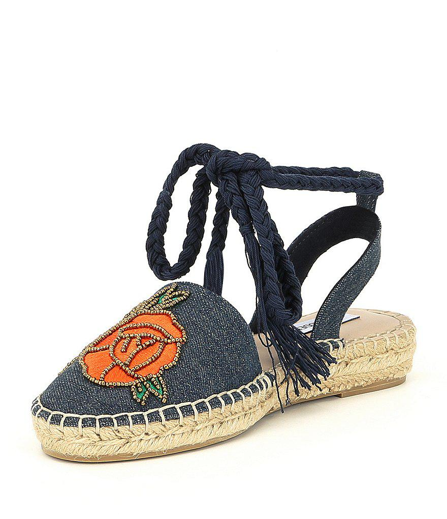 Steve Madden Mesa Beaded Rose Floral Embroidered Ankle Wrap Espadrilles AOHl3VH