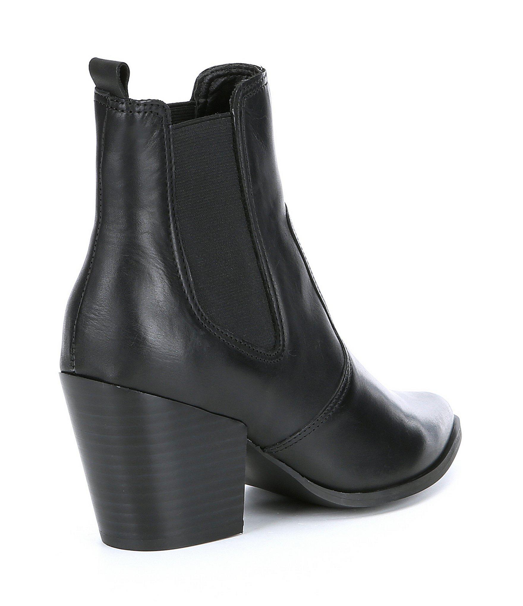0b81df752aa Lyst - Steve Madden Patricia Leather Block Heel Booties in Black
