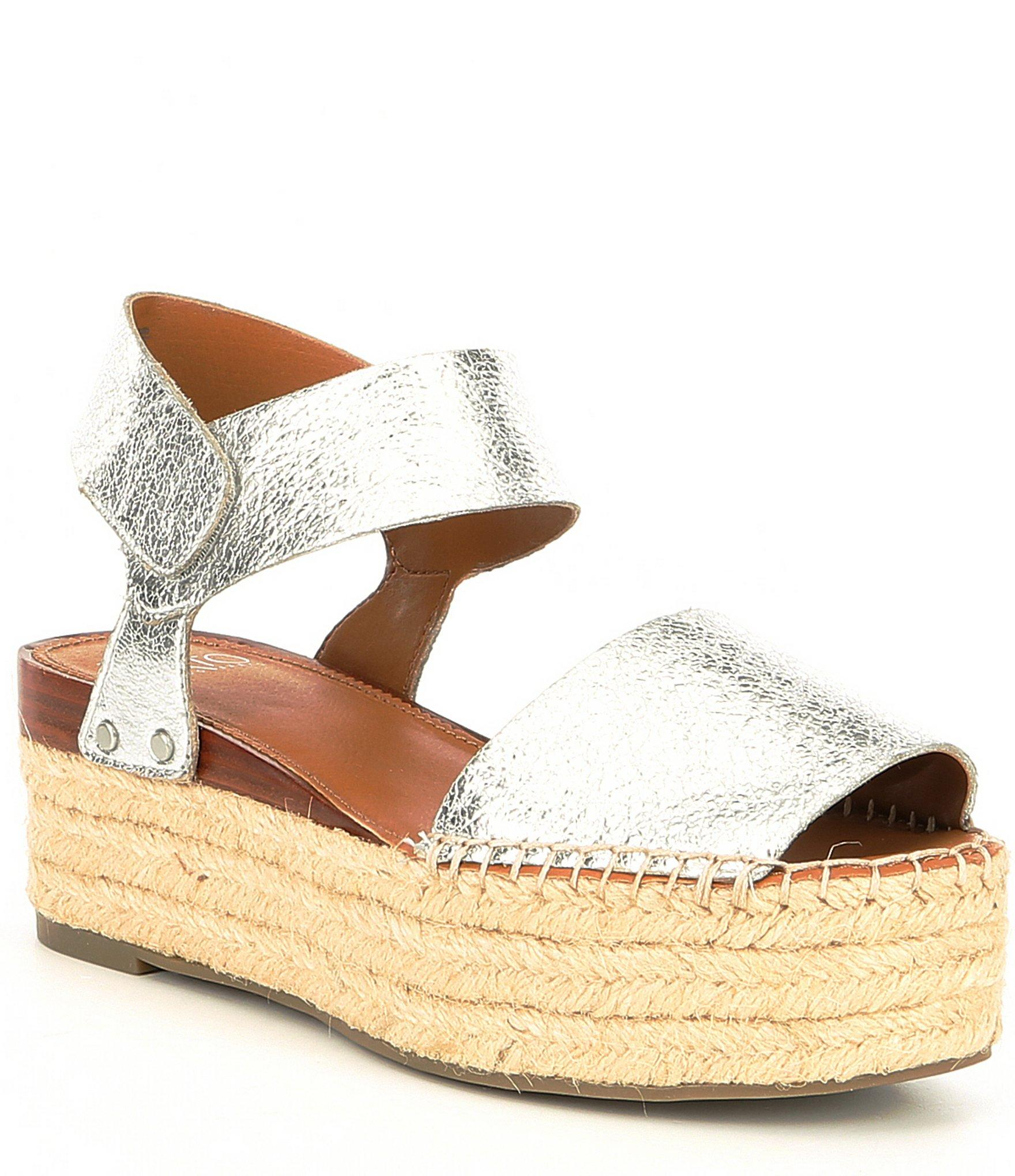 bce79d400957 Lyst - Franco Sarto Sarto By Leo Espadrille Platform Sandals in Metallic