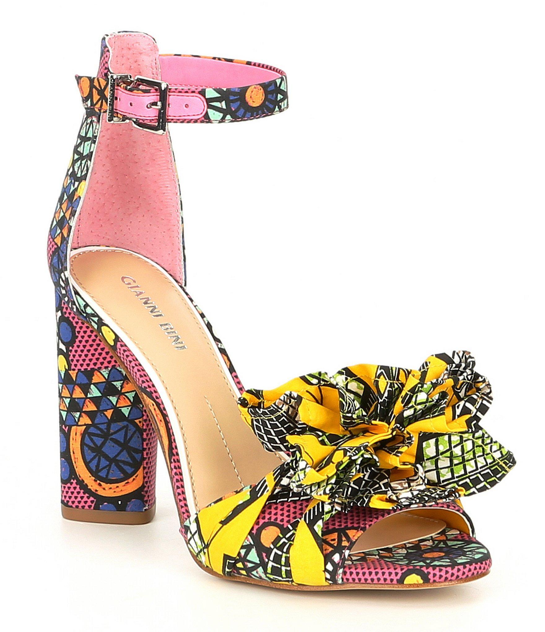 7ca54d24099 Lyst - Gianni Bini Lorree Printed Flower Pom Sandals