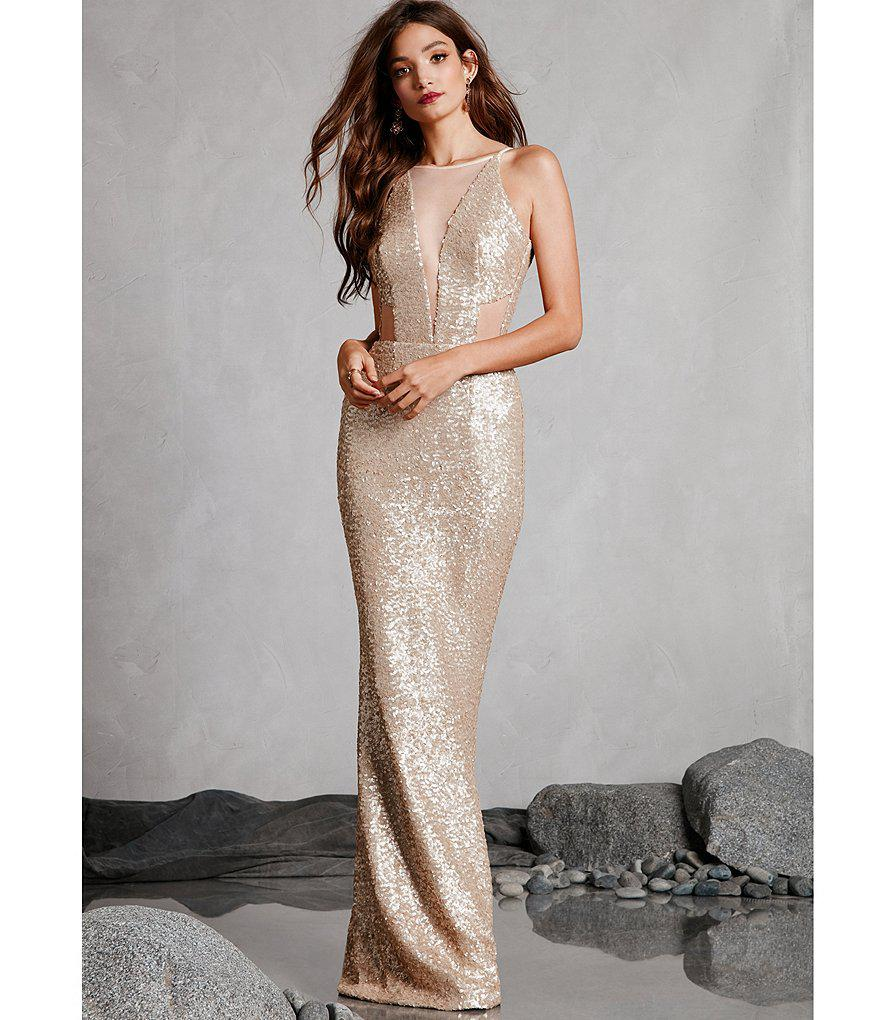 Lyst Dress The Population Sarah Sequin Cut Out Mermaid Gown In White