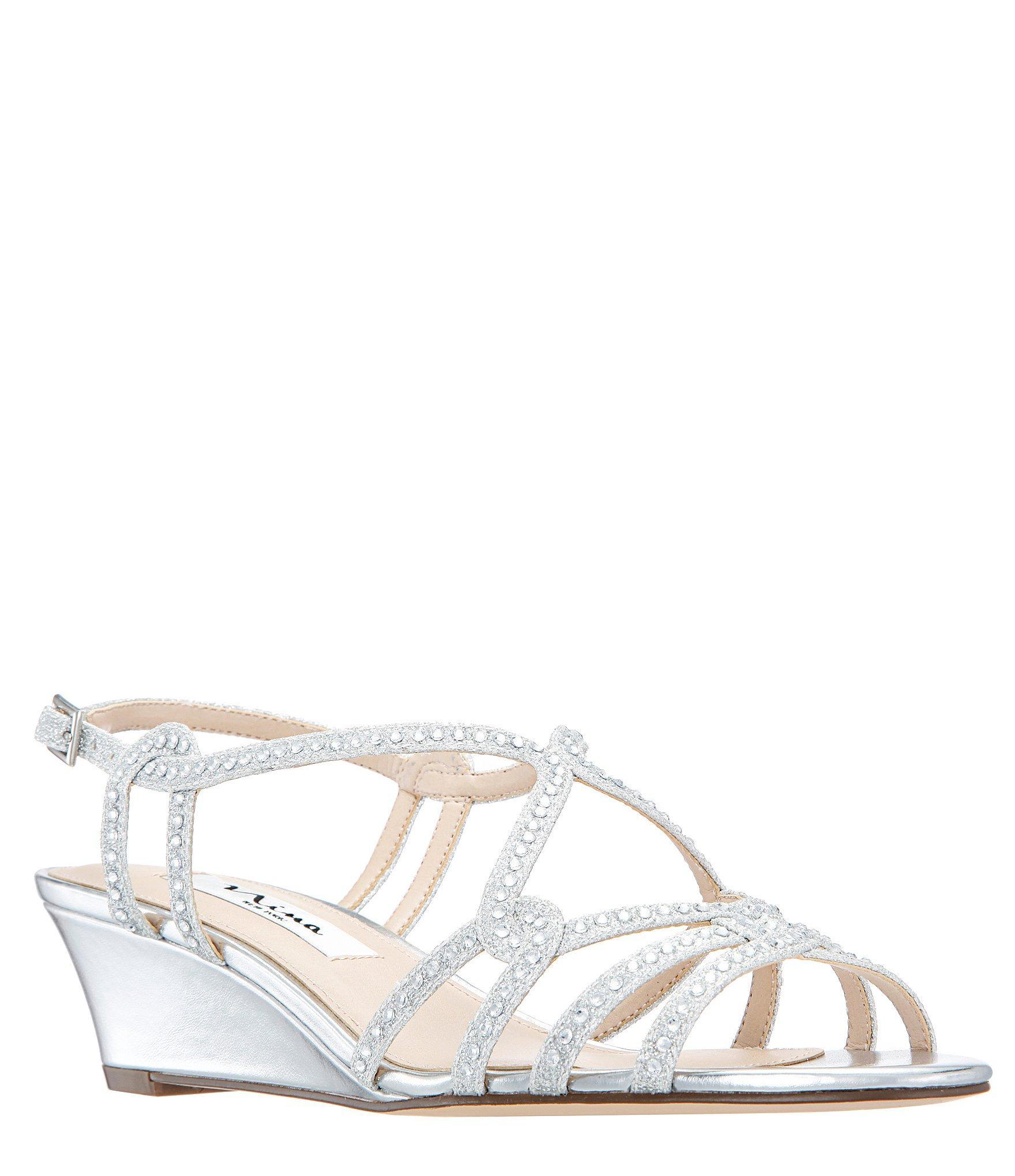 fcea9e5c9 Lyst - Nina Fynlee Glitter Wedge Sandals in Metallic
