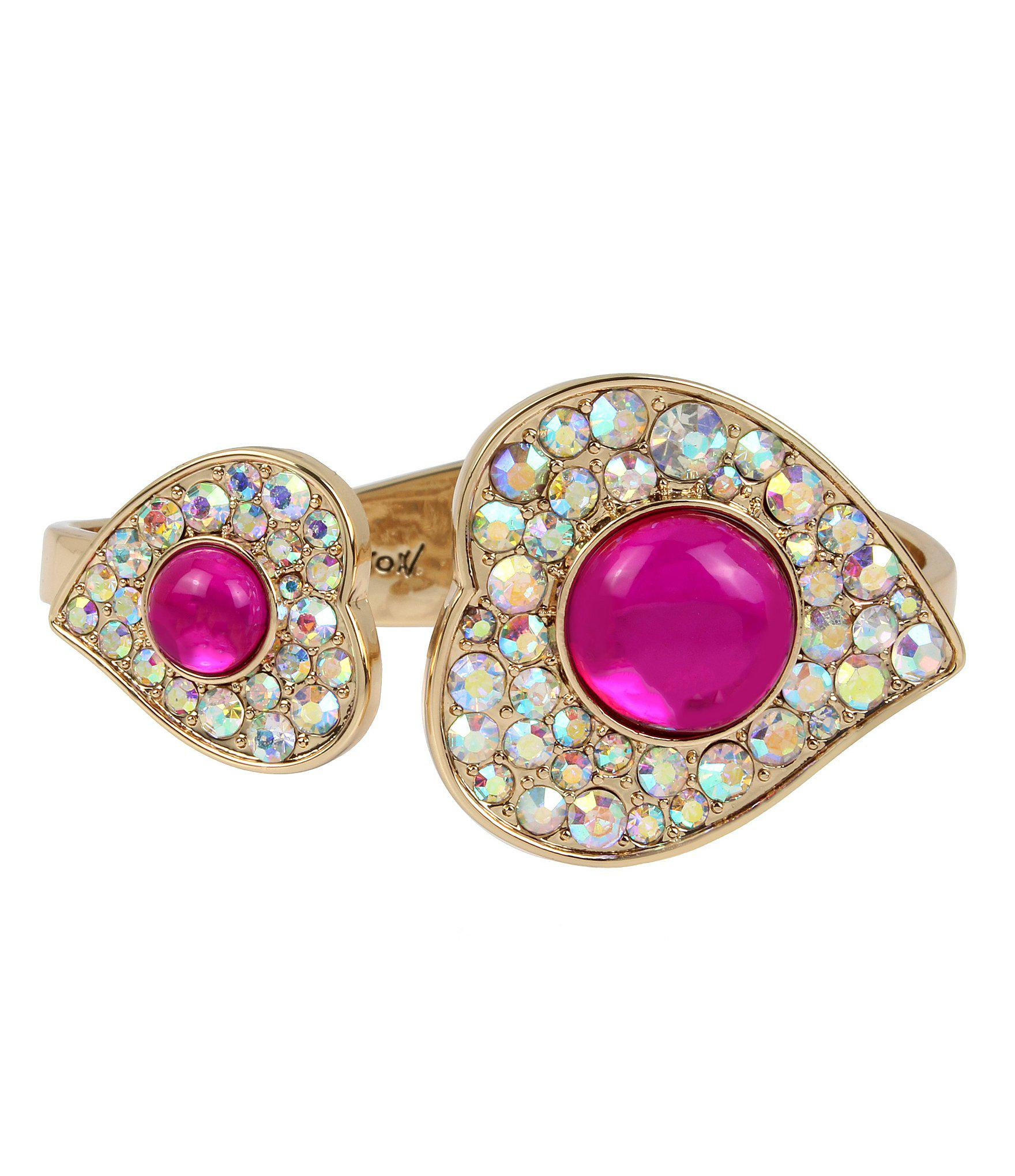 a3a553c76b5ca Lyst - Betsey Johnson Heart Hinged Bangle Bracelet in Pink