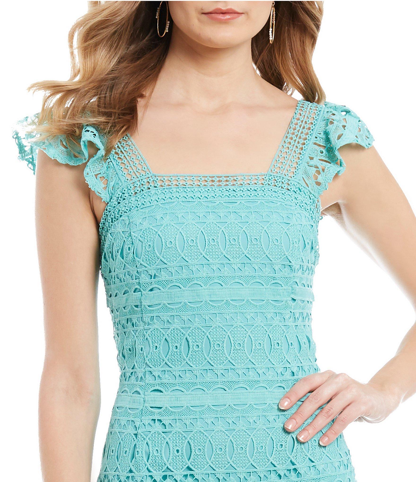 7788dc7c58 Antonio Melani - Blue Cameron Square Neck Flutter Cap Sleeve Midi Dress -  Lyst. View fullscreen