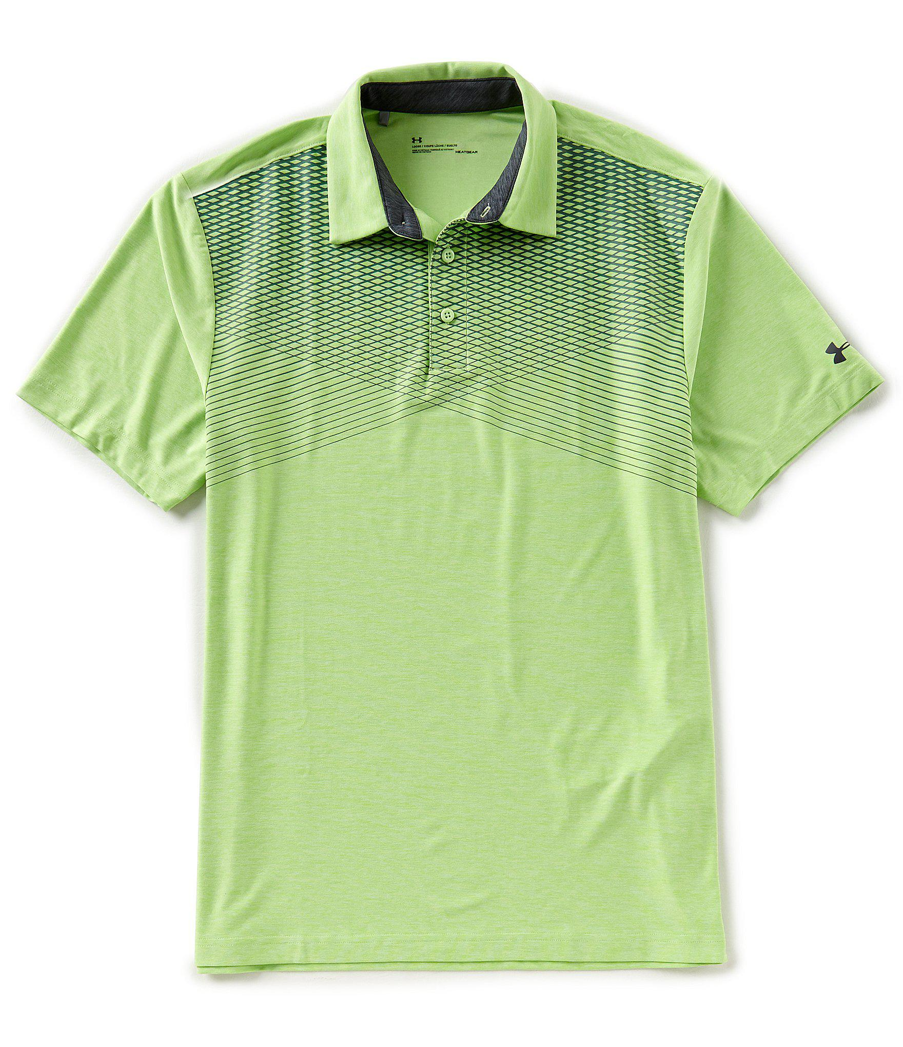 Lyst Under Armour Golf Lines Print Playoff Polo Shirt In Green For Men