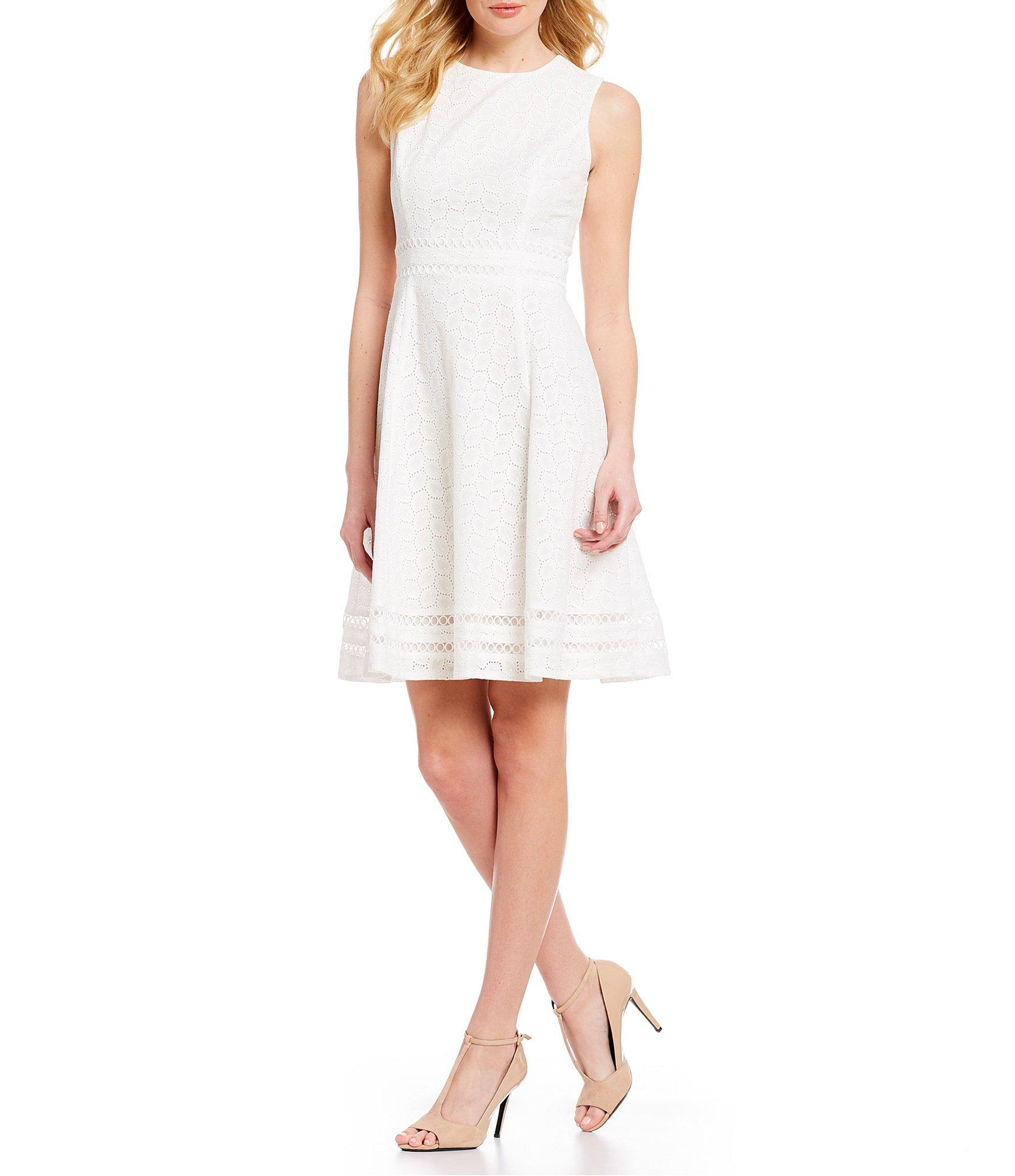43dd96f176 Calvin Klein. Women s White Sleeveless Eyelet Illusion Hem Fit   Flare Dress