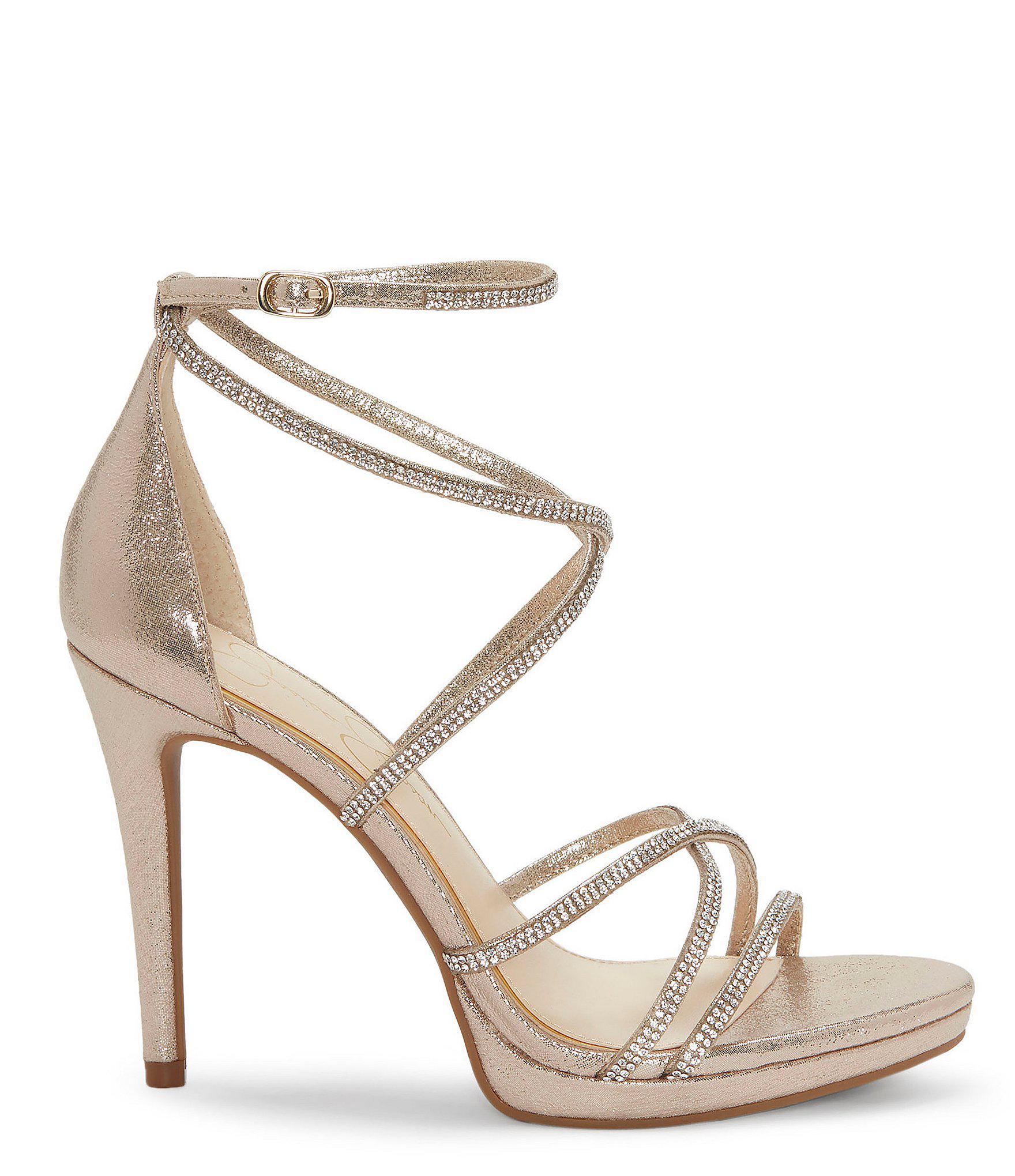 29b56c7741c5 Jessica Simpson - Metallic Jaeya Rhinestone Strappy Dress Sandals - Lyst.  View fullscreen