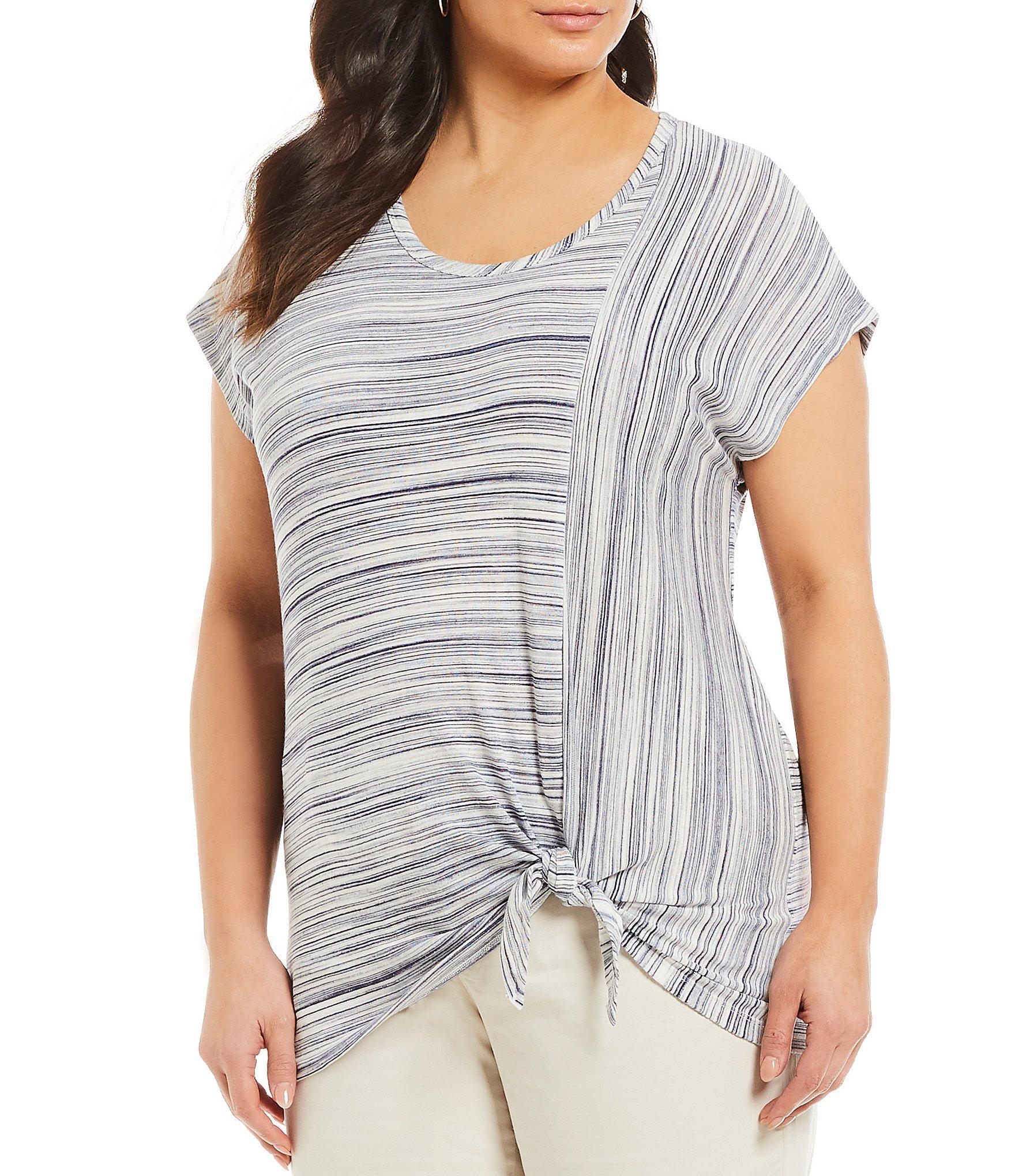e2de52a3b590a Lyst - Jones New York Plus Size Jersey Striped Tie Hem Short Sleeve ...