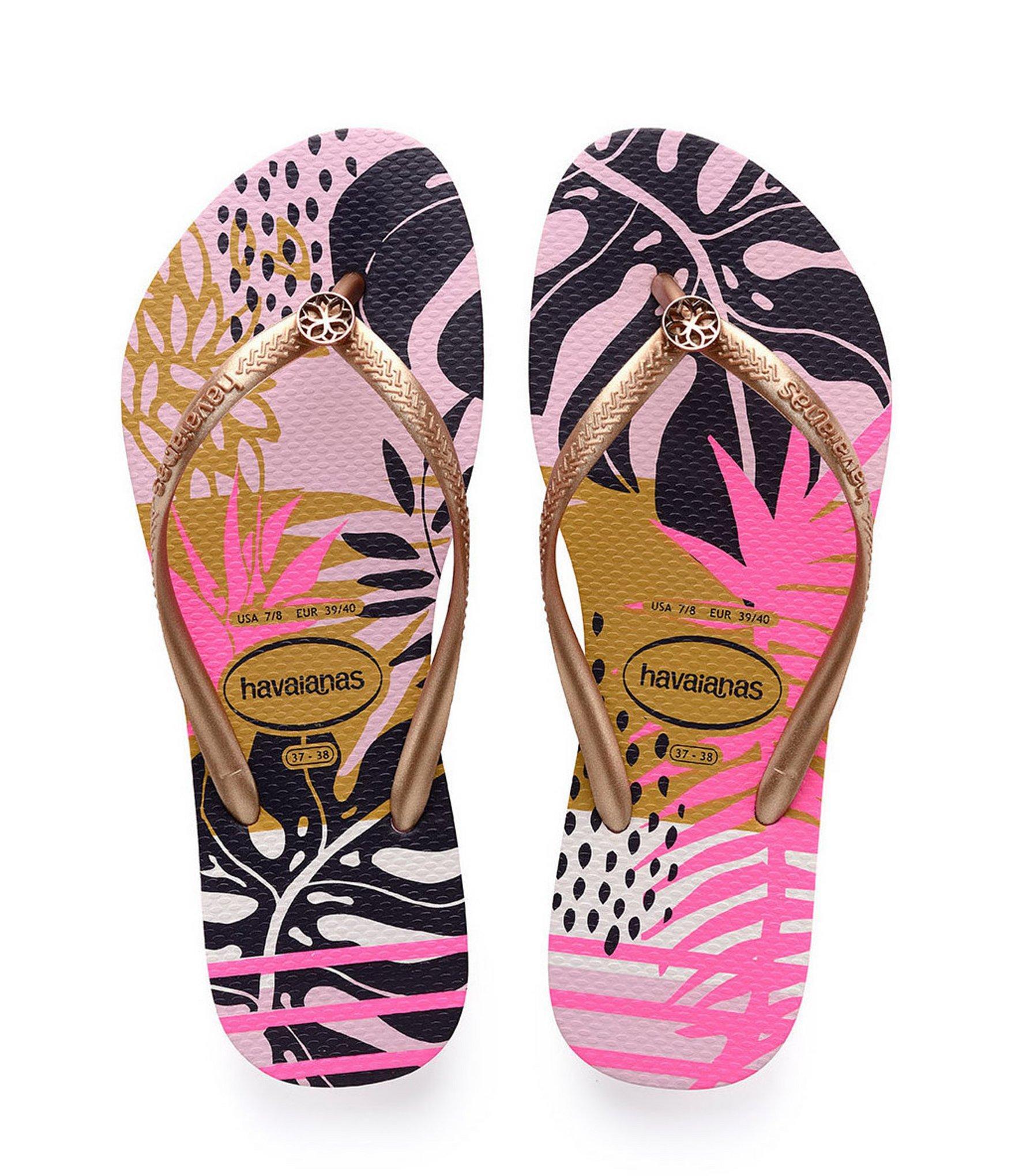44d3026e8f07 Havaianas - Pink Slim Foliage Flip Flops - Lyst. View fullscreen