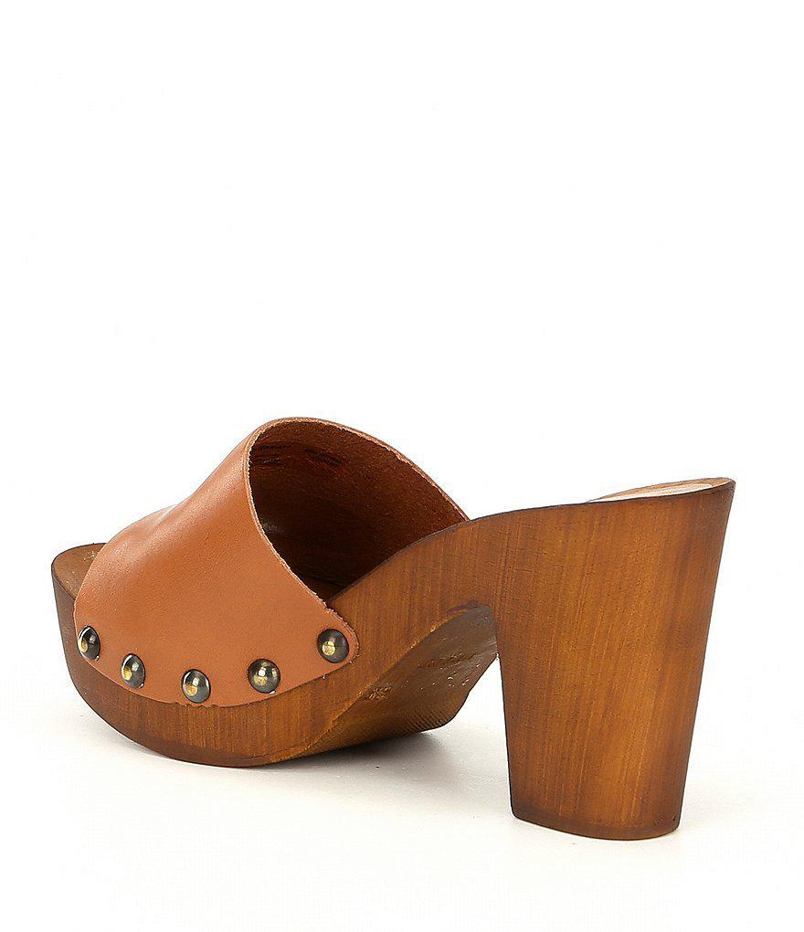 Unbridled Lennon Studded Leather Block Heel Mules LmCXmG