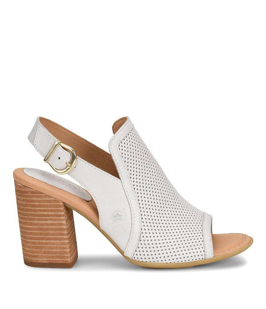 Sutra Perf Slingback Peep-Toe Block Heel Sandals vYIfNX