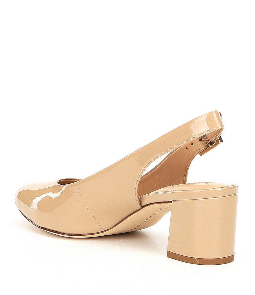 Antonio Melani Arian Patent Leather Slingback Block Heel Pumps T9krksQ