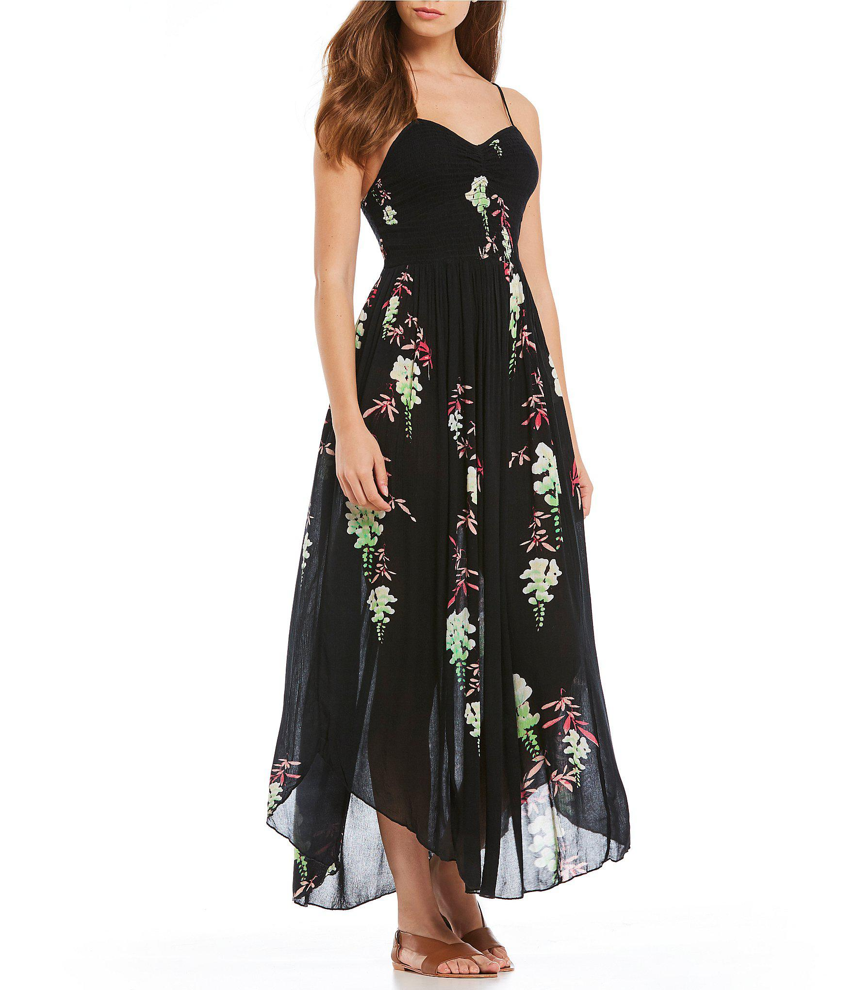 64bb154006222 Free People Beau Smocked Floral Print Slip Maxi Dress in Black - Lyst