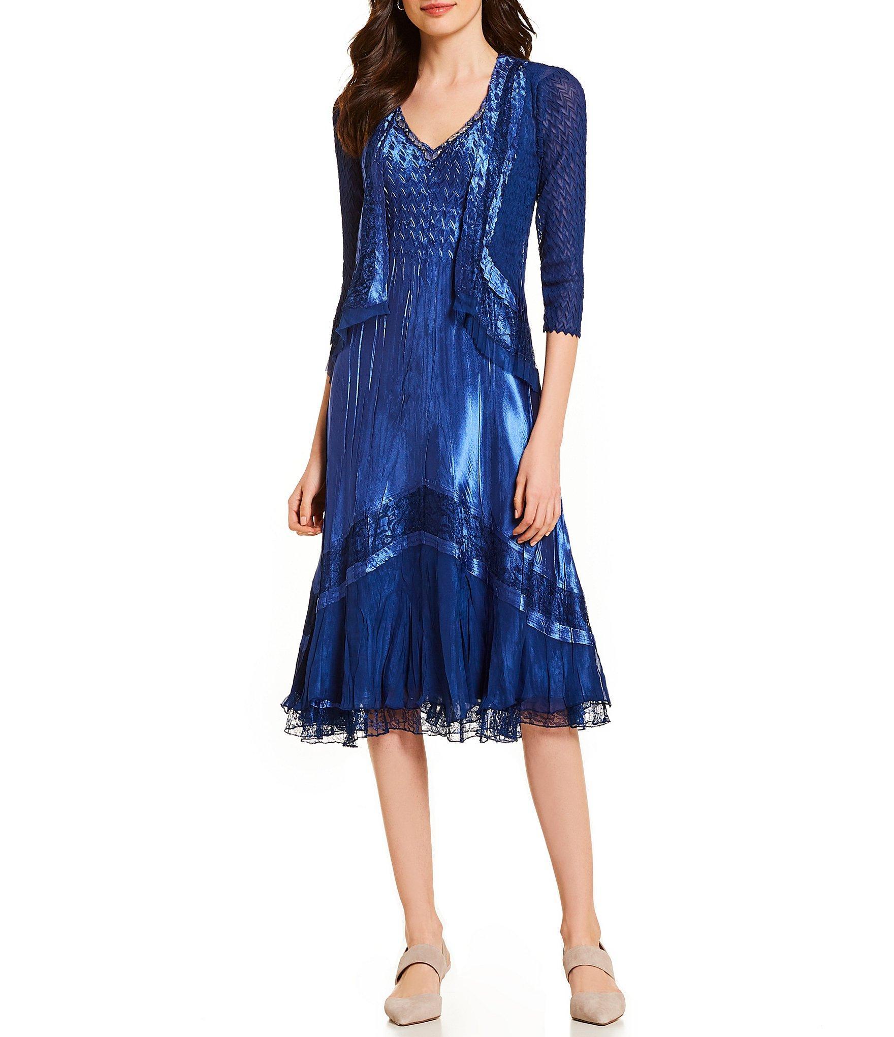 d1c59864f4 Komarov. Women s Blue 3 4 Sleeve Jacket Ombre Lace Detail V-neck Midi Dress