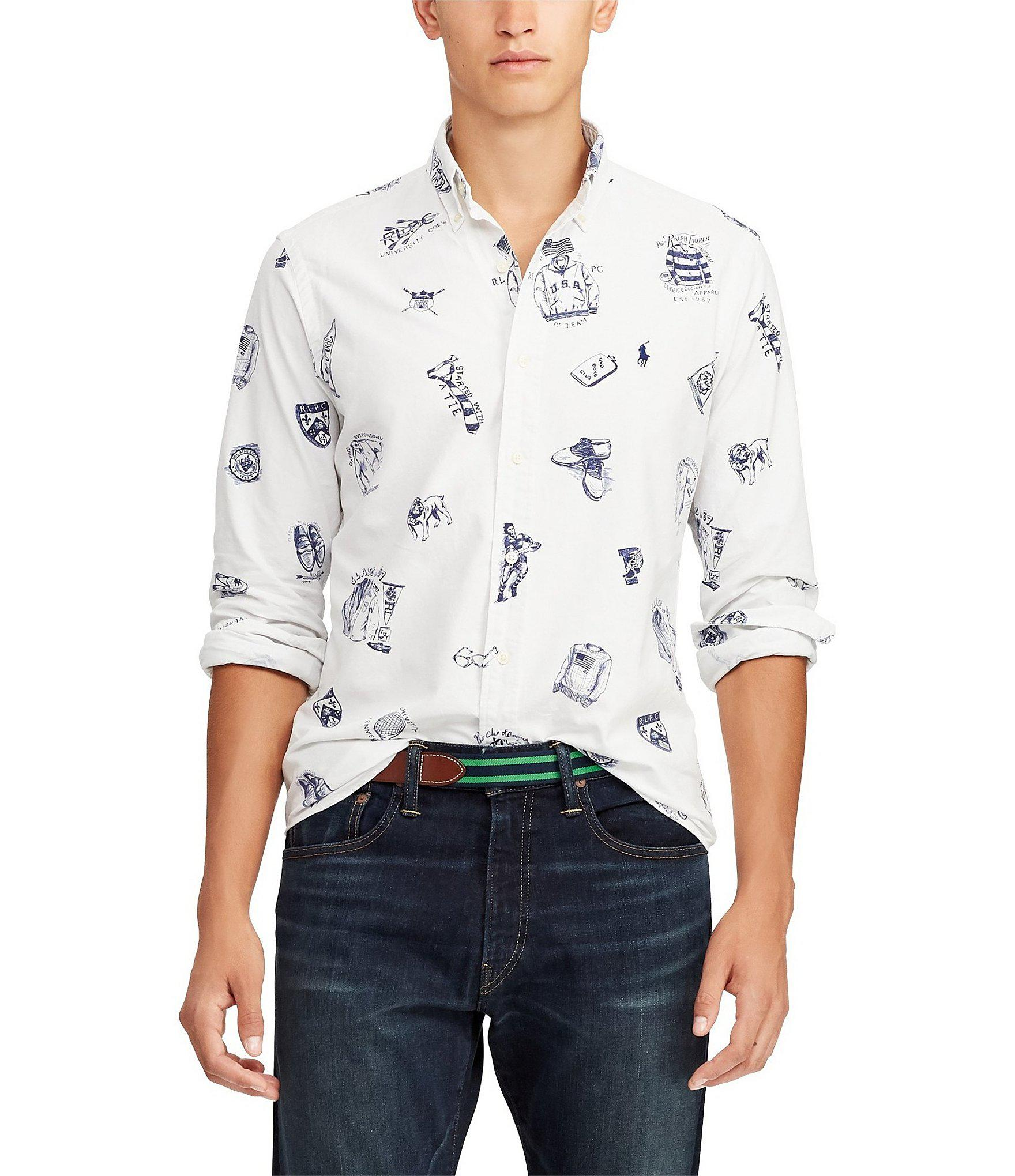 170c8745c Polo Ralph Lauren Printed Oxford Long-sleeve Woven Shirt for Men ...