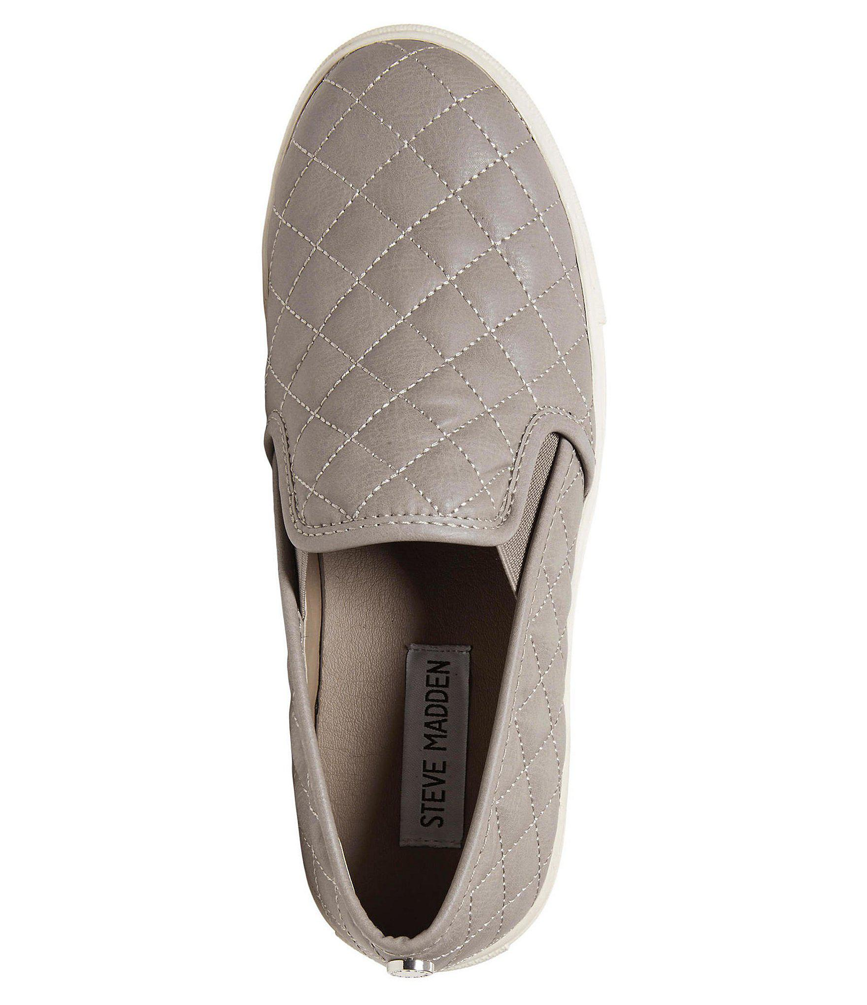 5fc76f51045 Steve Madden - Gray Ecentrcq Quilted Slip On Sneakers - Lyst. View  fullscreen