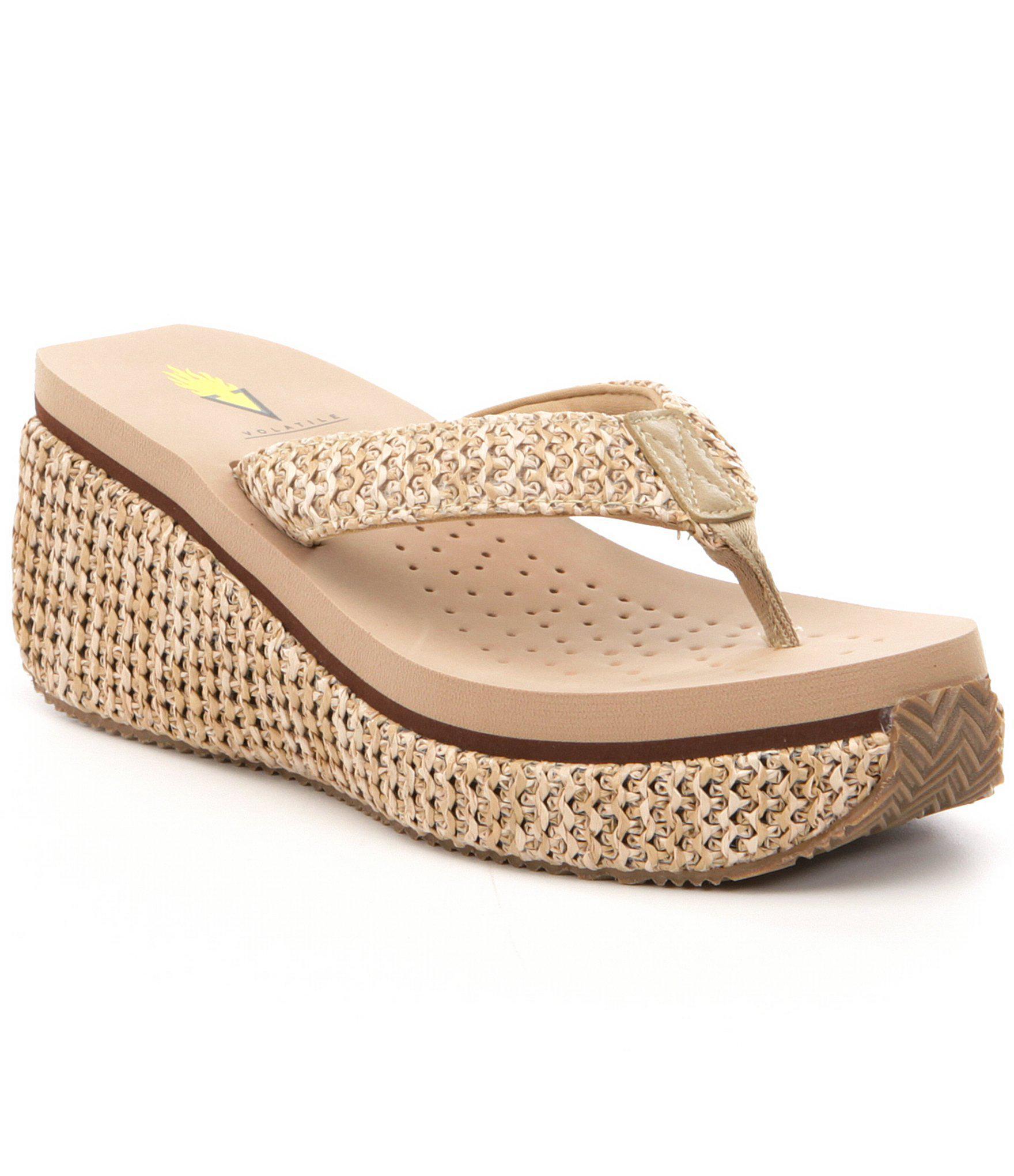 9894bc7532 Lyst - Volatile Zadie Raffia Platform Wedge Sandals in Natural