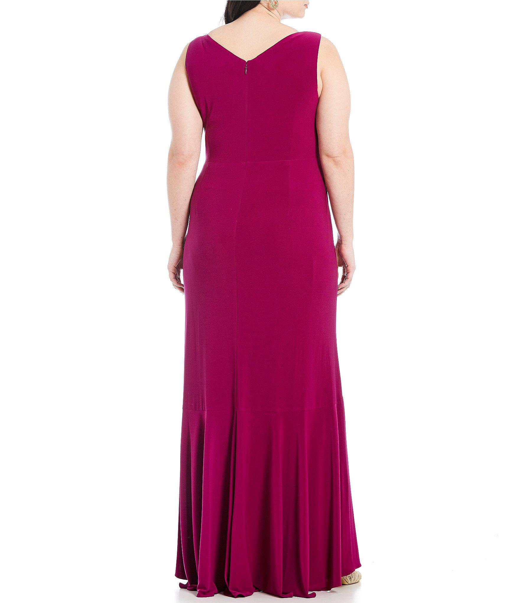 0b91fc67cd37f Adrianna Papell - Purple Plus Size Cascade Gown - Lyst. View fullscreen