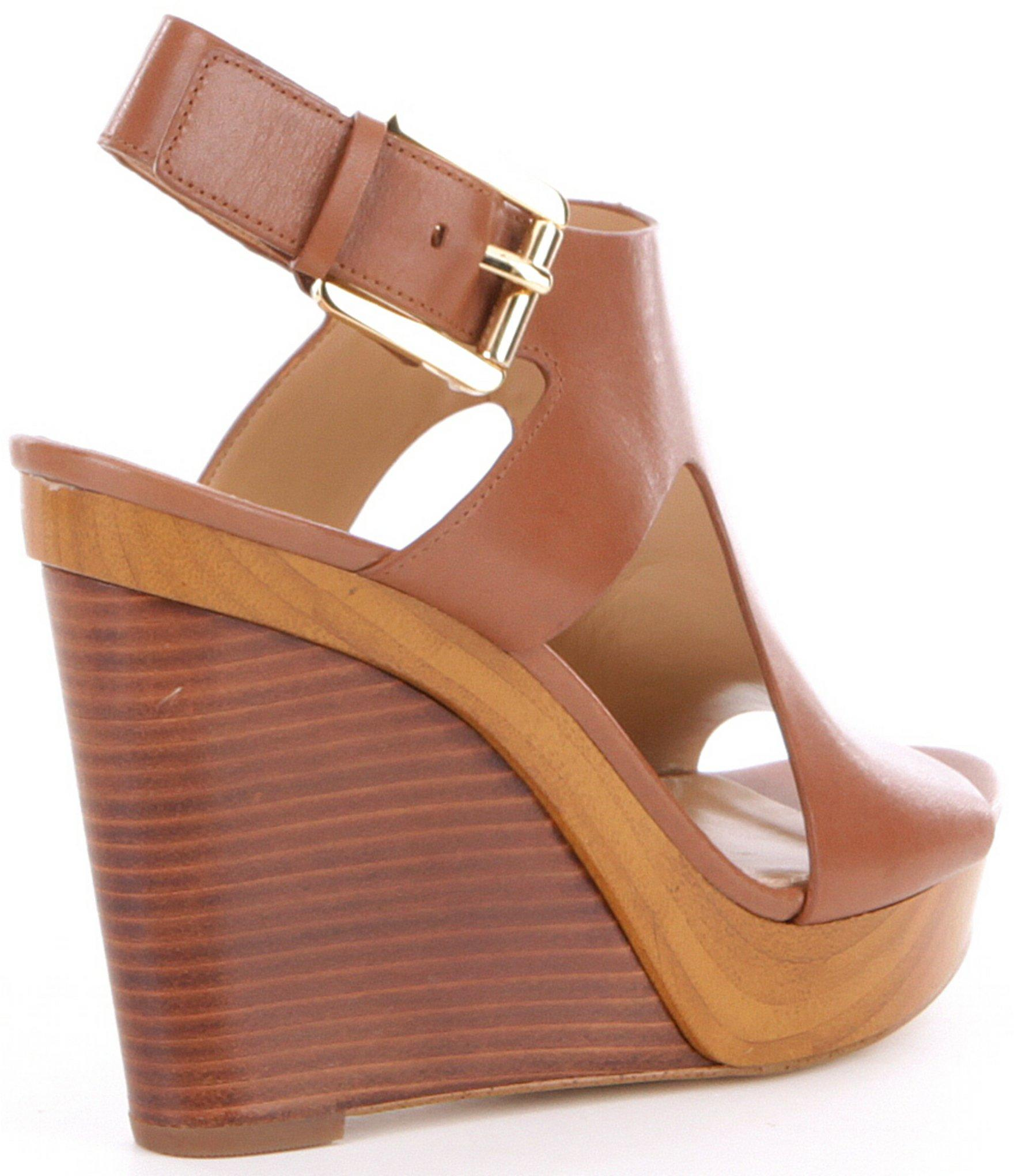 ce8c08314f7 MICHAEL Michael Kors - Brown Josephine Leather Peep Toe Wedges - Lyst. View  fullscreen