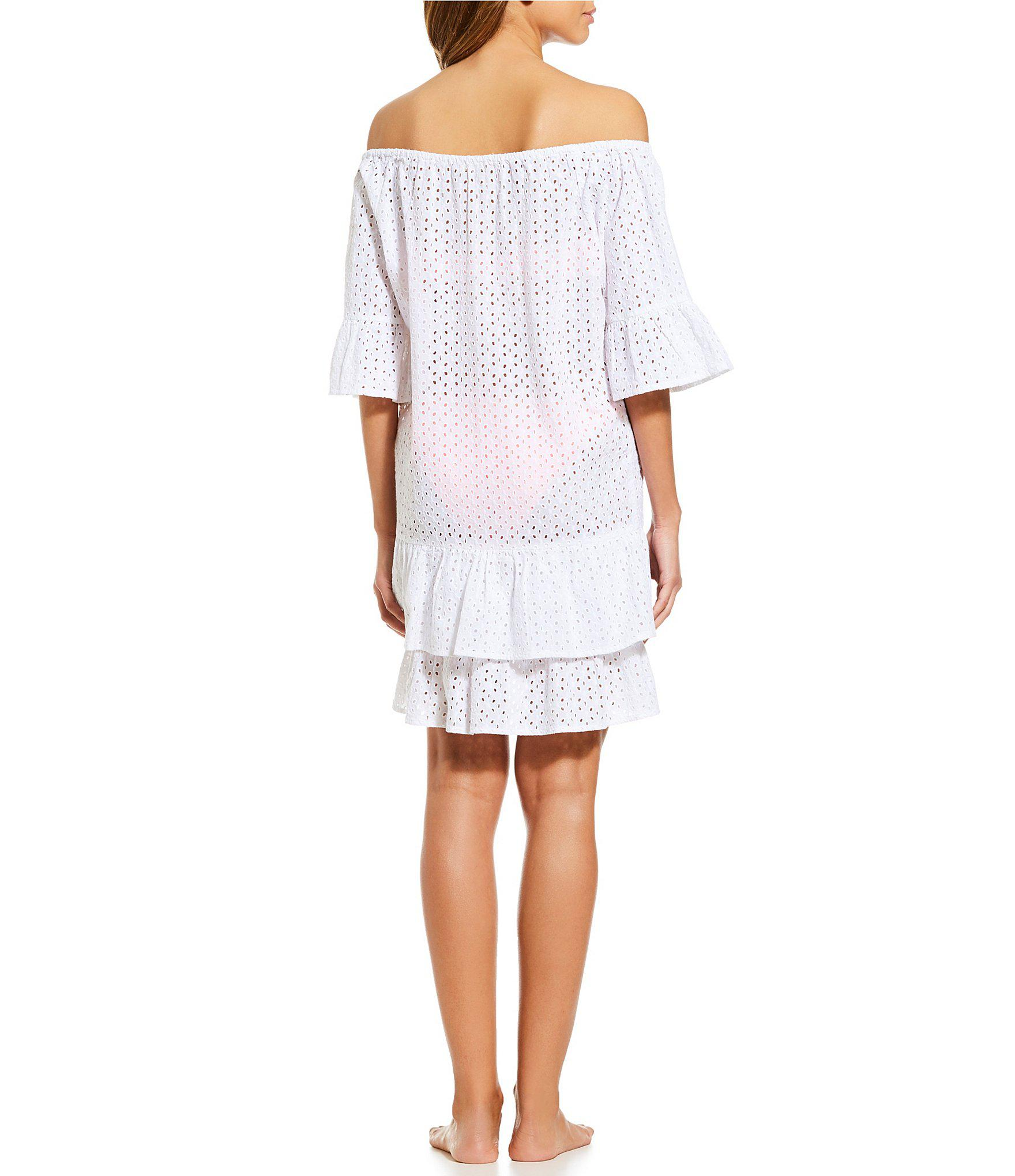 d1284f24f7 Gianni Bini Eyelet Off-the-shoulder Dress Swimsuit Cover-up in White ...
