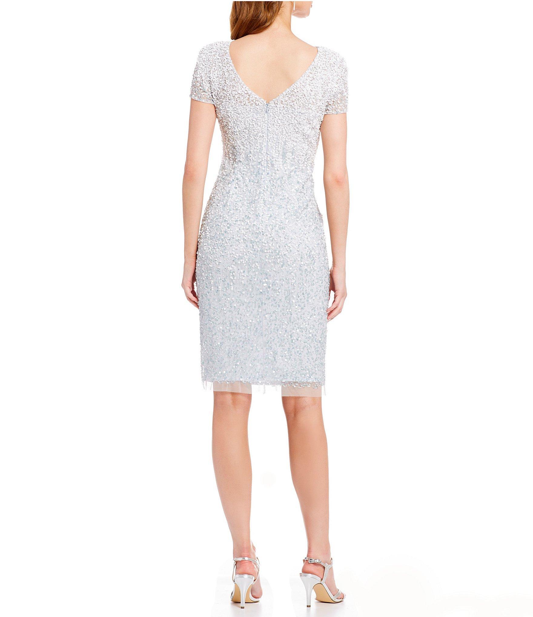 35b746ab987 Lyst - Adrianna Papell Beaded Sheath Dress in White