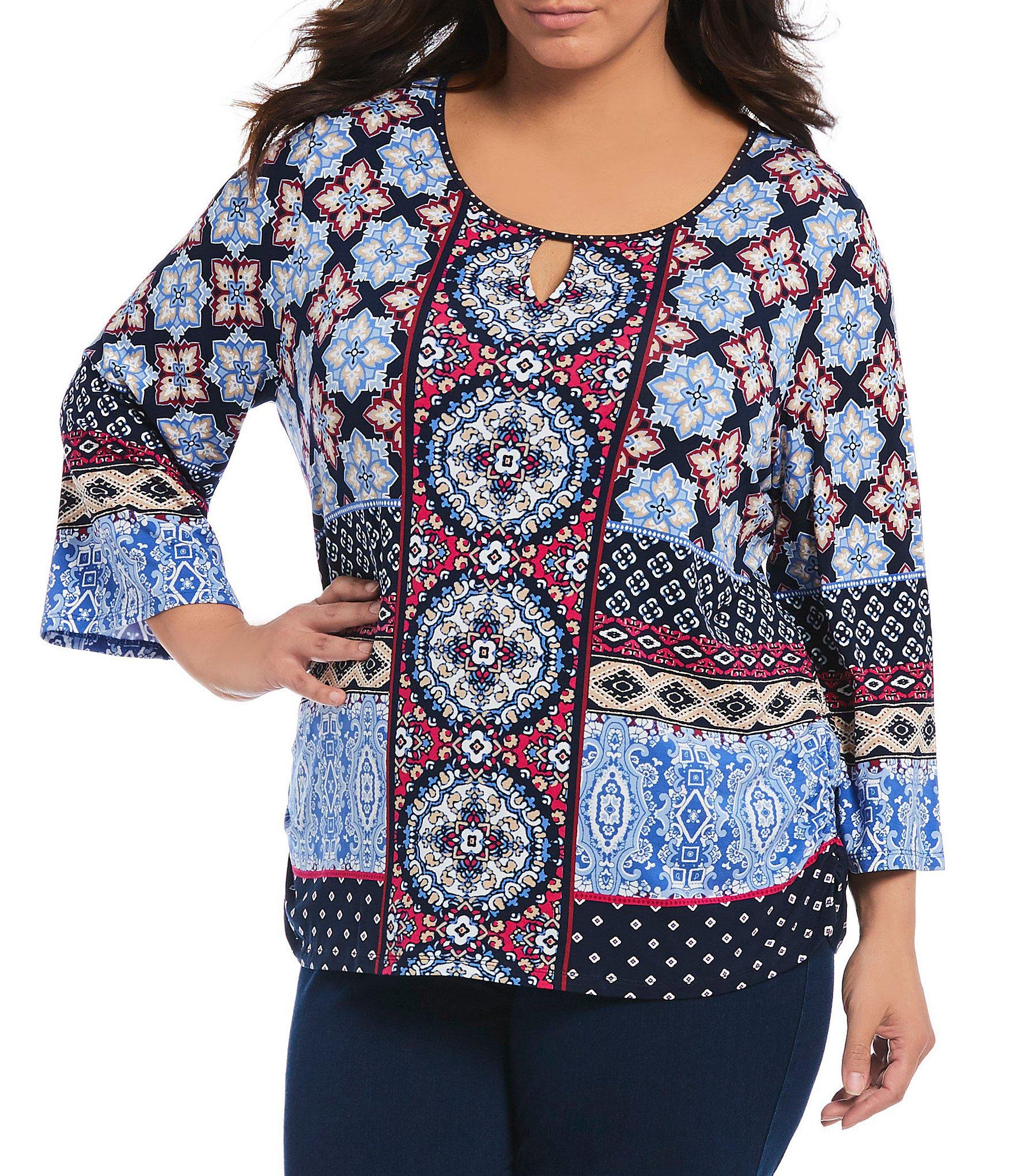 67f80facb25 Lyst - Ruby Rd Plus Size Medallion Placement Print 3 4 Sleeve Knit ...