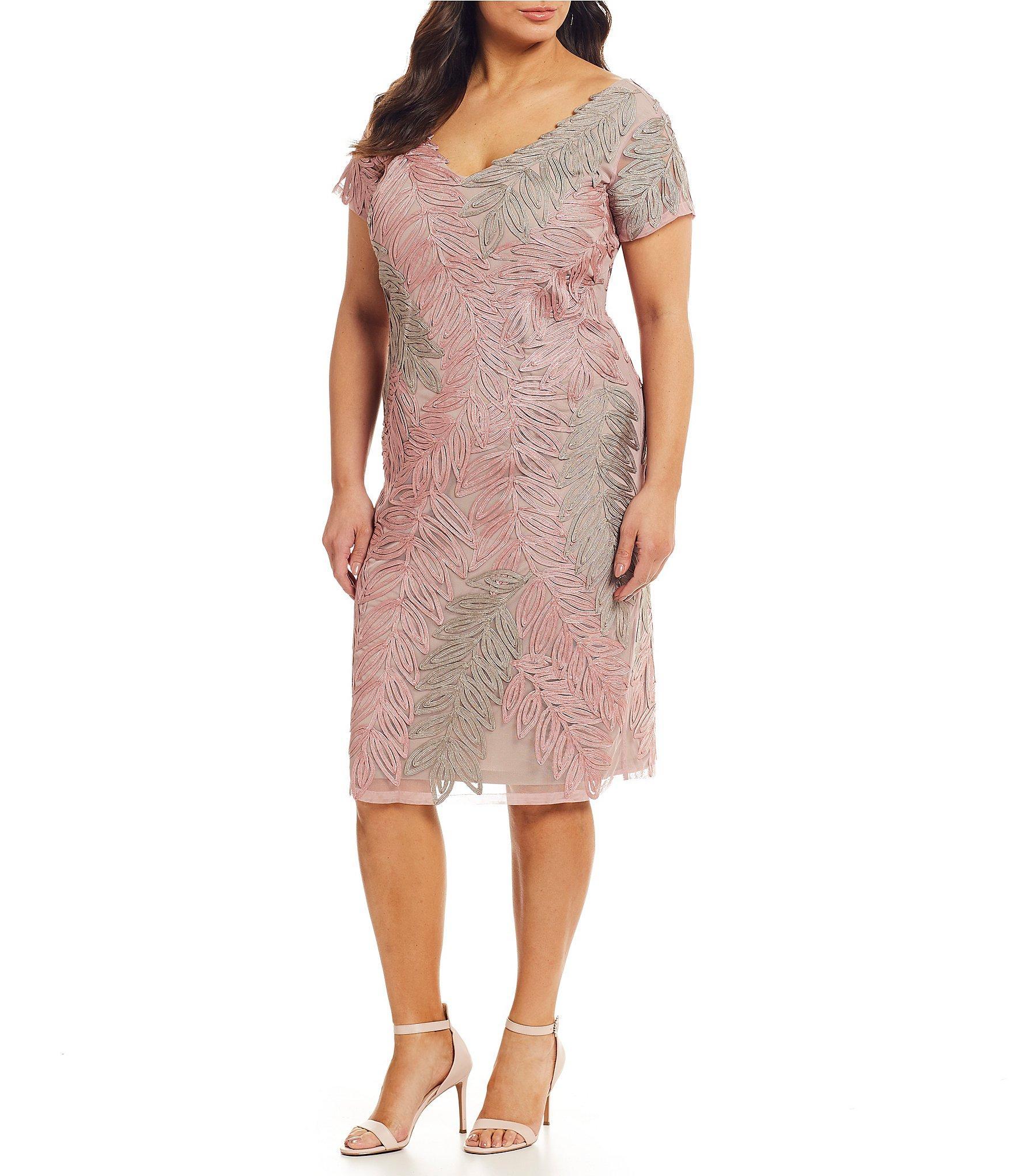 16eccfbec7e Lyst - JS Collections Plus Size Leaf Soutache V-neck Dress in Pink