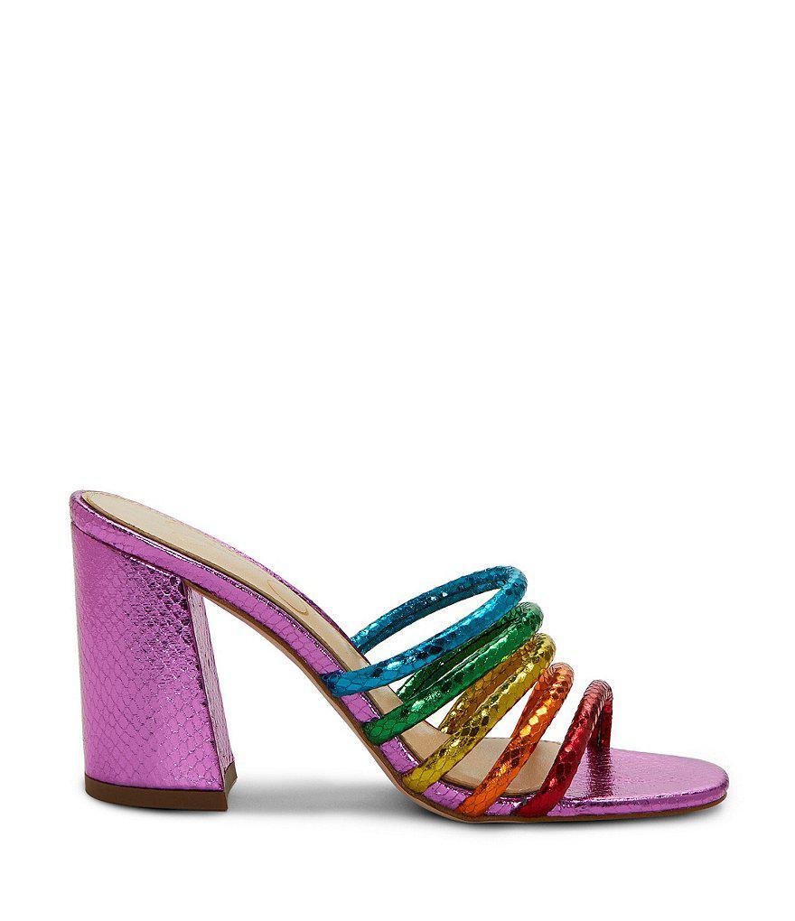 Jessica Simpson Fixton Rainbow Metallic Snake Block Heel Strappy Slide Sandals T34gi