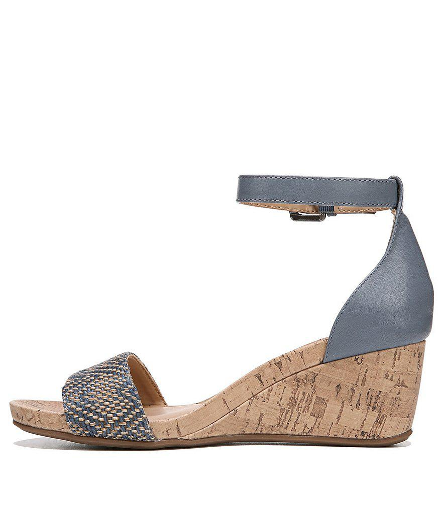 Cami Woven Fabric Cork Ankle Strap Wedges reS78