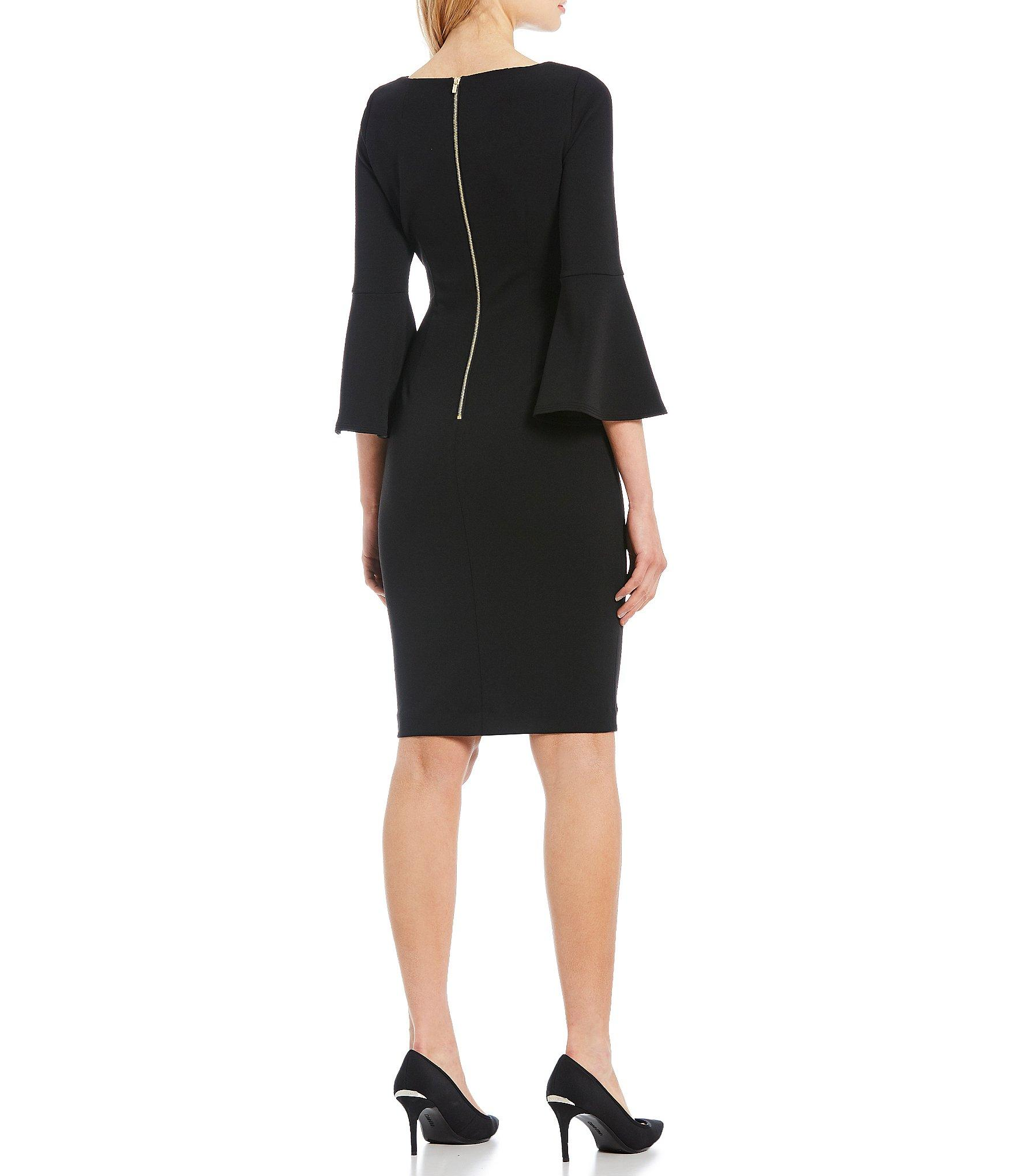 10d72e9d02d Calvin Klein - Black Bell-sleeve Sheath Dress - Lyst. View fullscreen