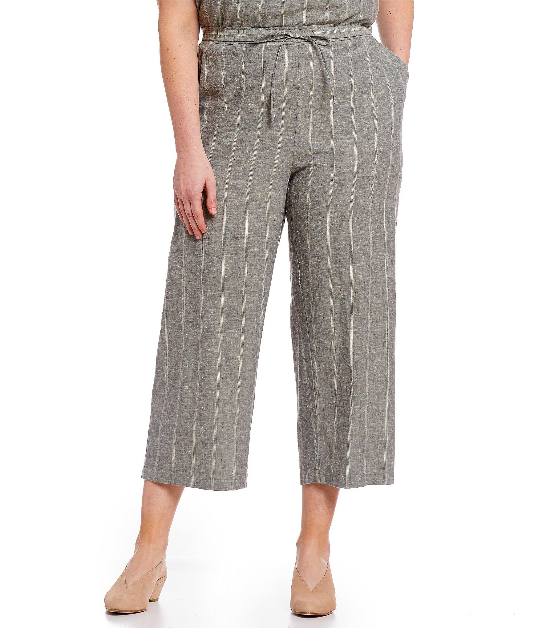 af3f5adb8ef Lyst - Eileen Fisher Plus Size Cropped Wide-leg Stripe Pants in Gray