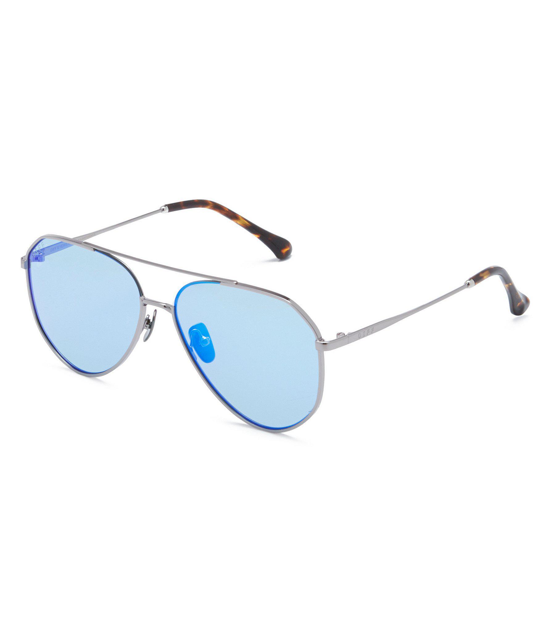 98f79cbb902ff Lyst - DIFF Dash Polarized Mirrored Aviator Sunglasses in Blue