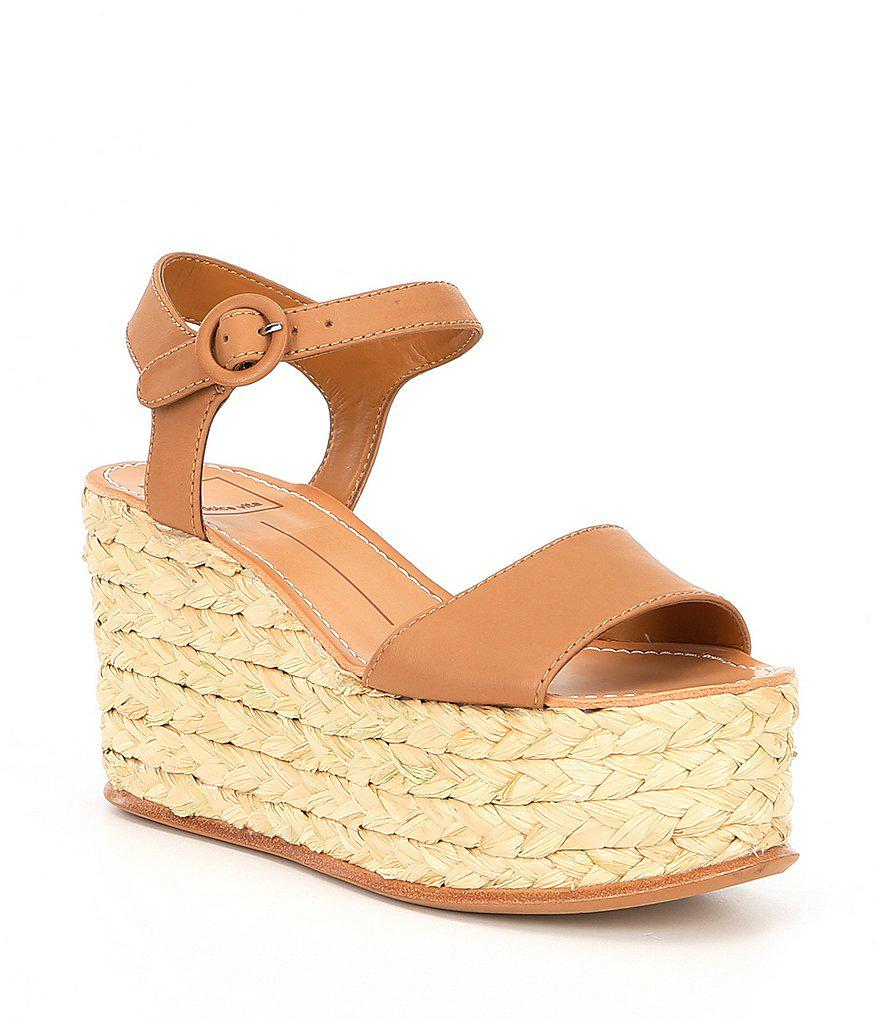 ce600d7a86 Dolce Vita Dane Leather Platform Espadrille Wedge Sandals in Brown ...