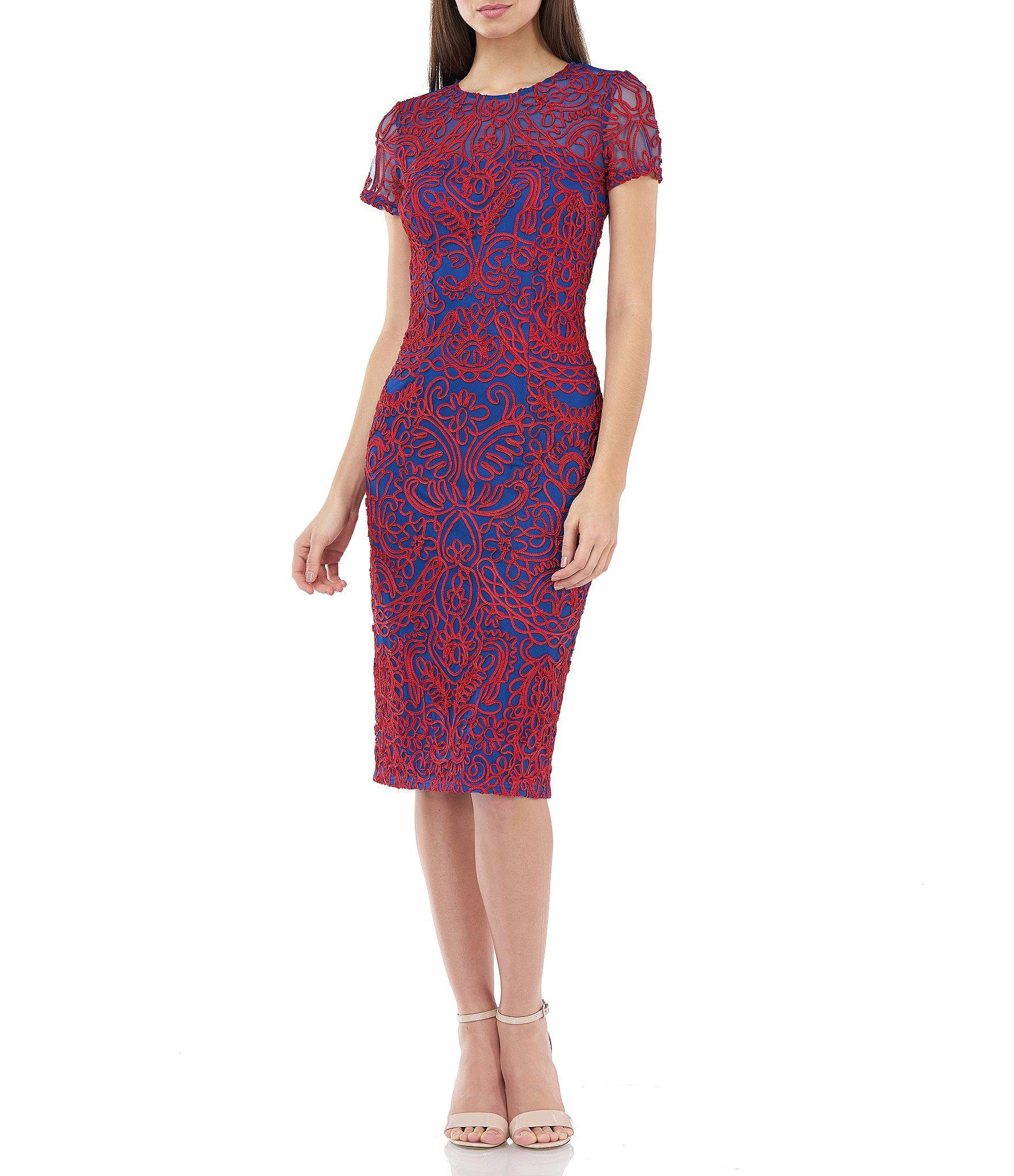 74bbfbc965 Lyst - JS Collections Soutache Midi Length Sheath Dress in Purple