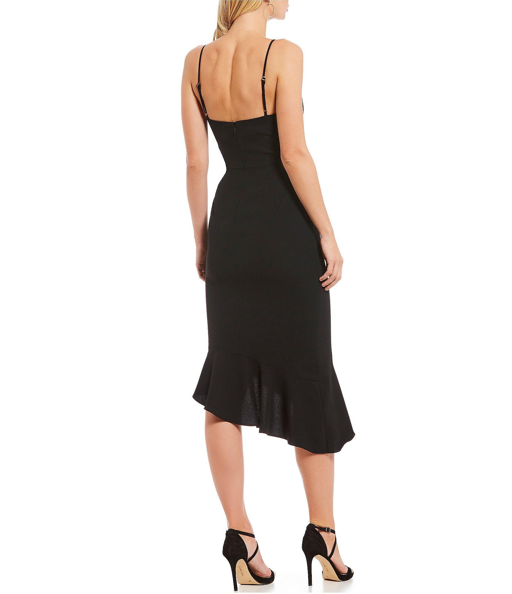 0ff2a22f6d Gianni Bini - Black Lee V-neck Spaghetti Strap Fluted Asymmetric Hem Midi  Sheath Dress. View fullscreen