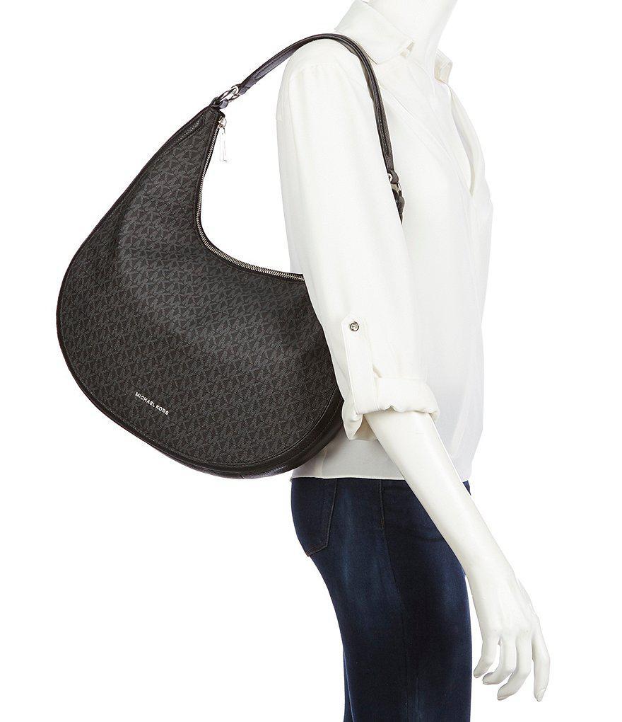 e9ca9ea896380c MICHAEL Michael Kors Signature Lydia Large Hobo Bag in Black - Lyst