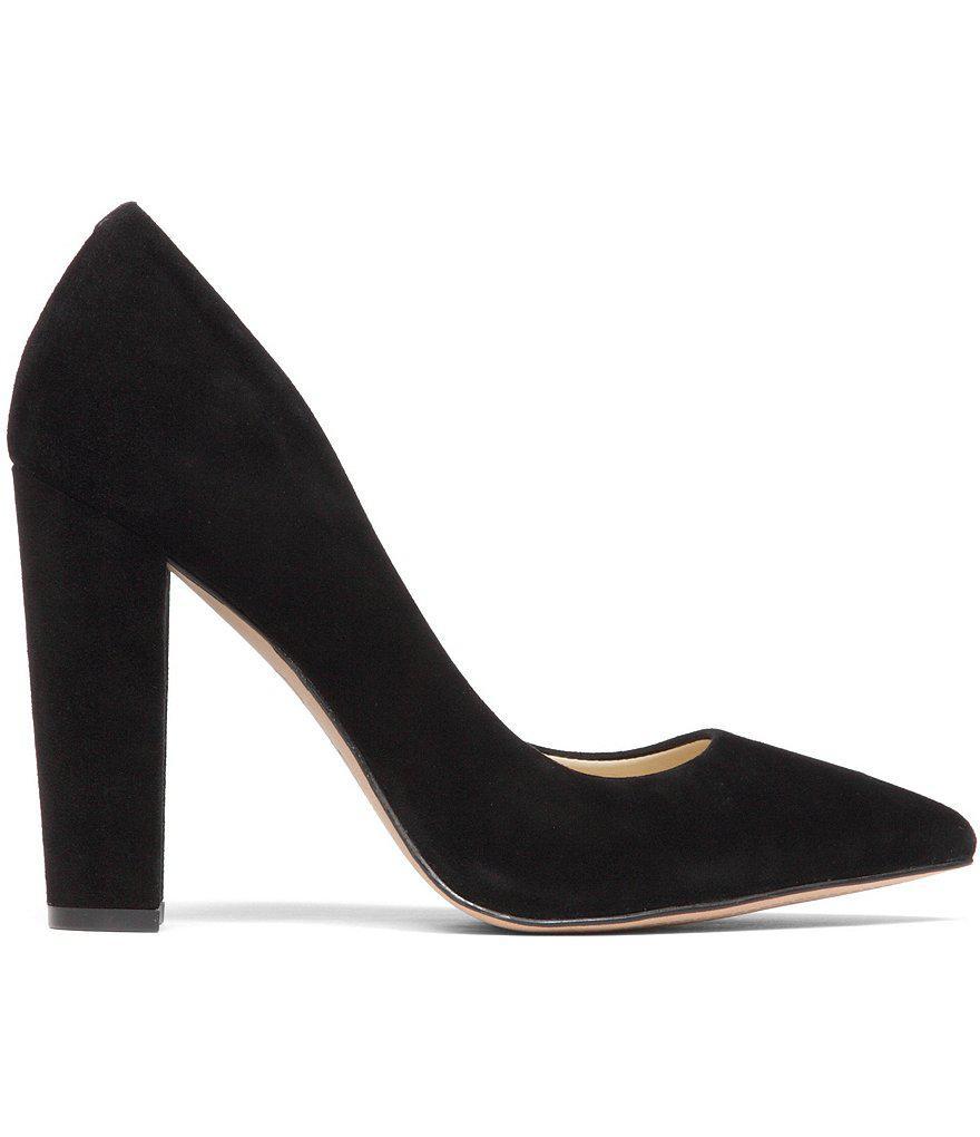6b87aef6667 Jessica Simpson Tanysha Suede Pointed-toe Block Heel Pumps in Black ...