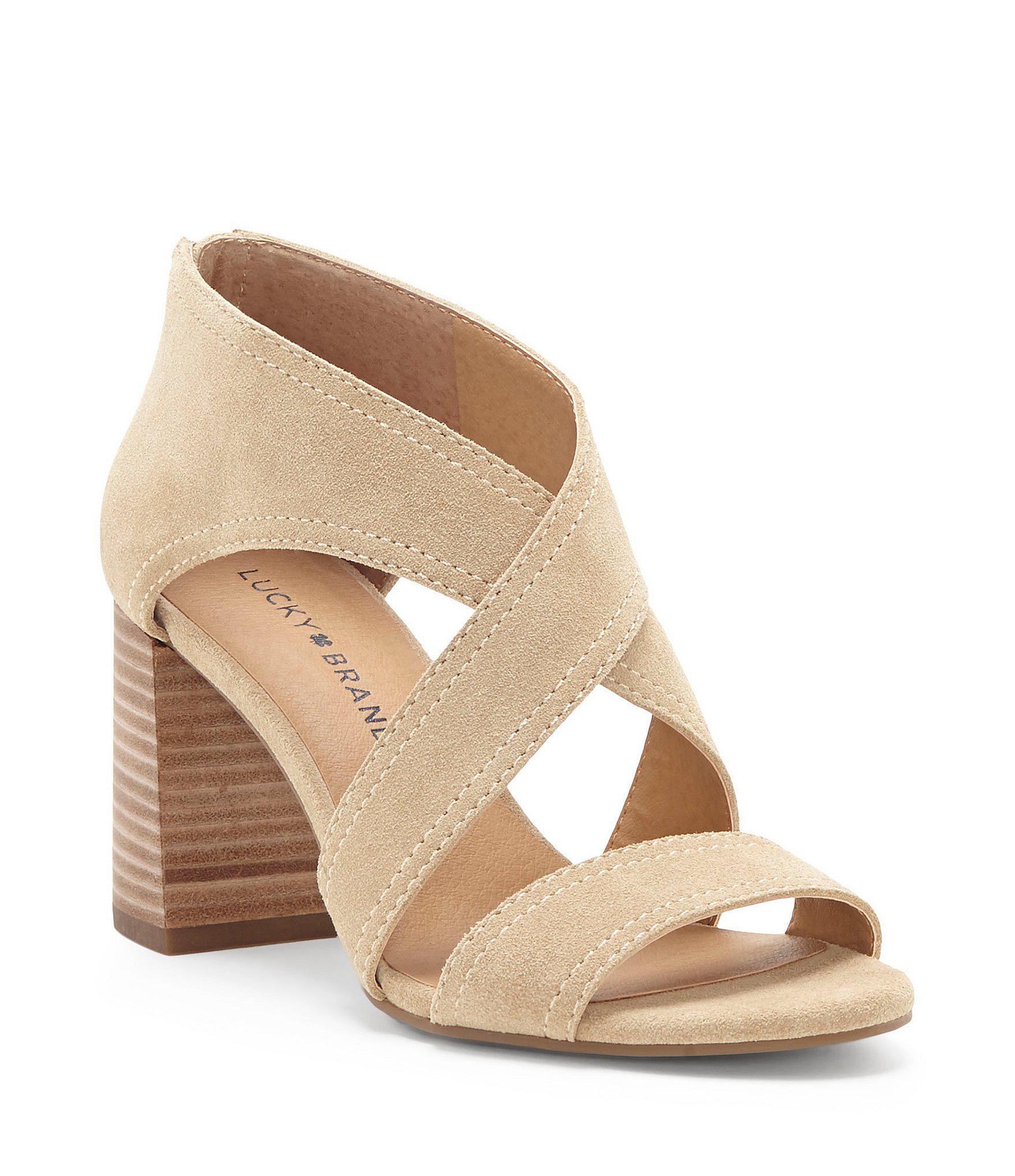 23bbc3a139e Lyst - Lucky Brand Vidva Suede Block Heel Sandals in Brown