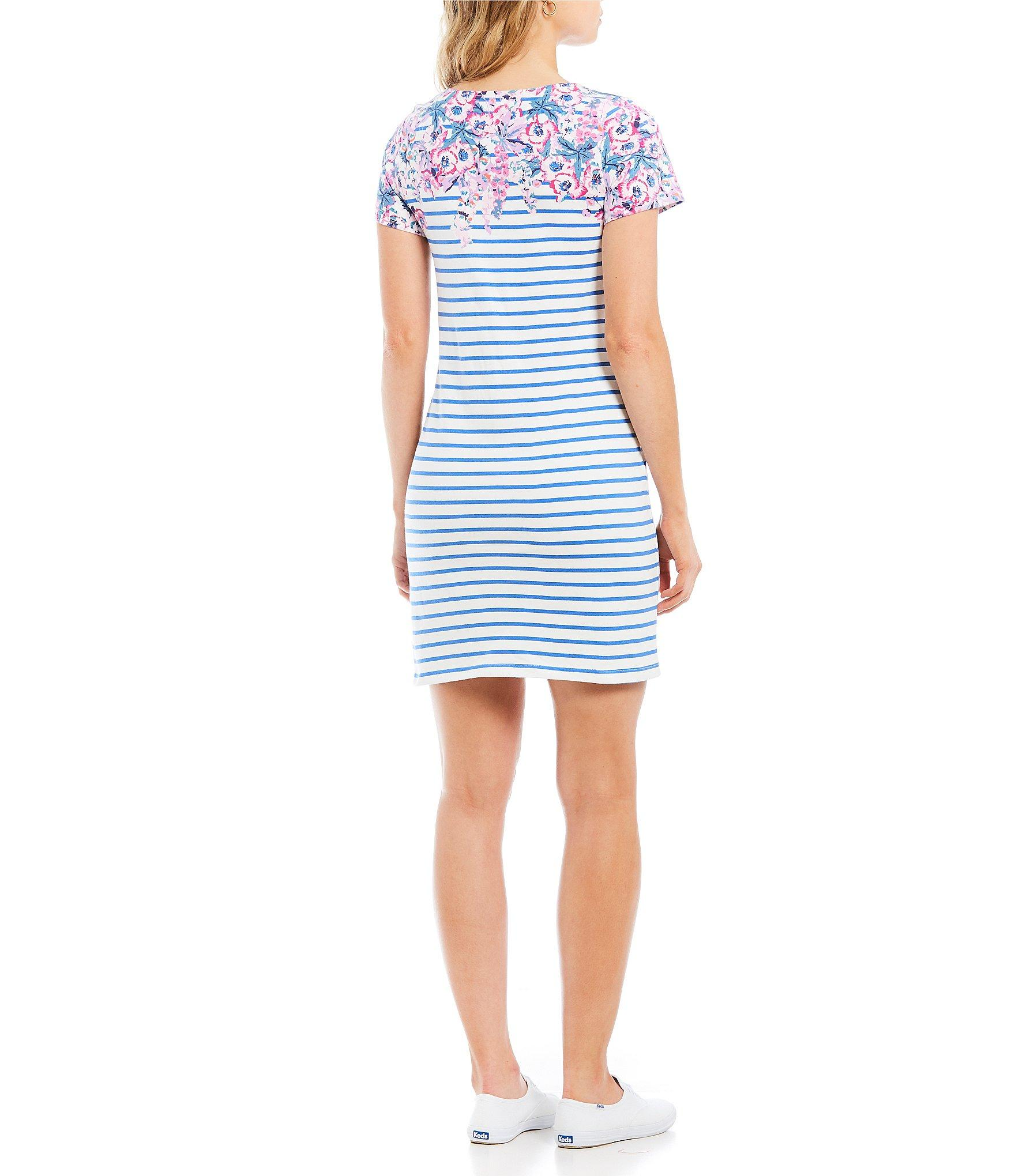 2bf2ae58a57 Joules - Blue Riviera Floral Print Striped Short Sleeve Shift Dress - Lyst.  View fullscreen