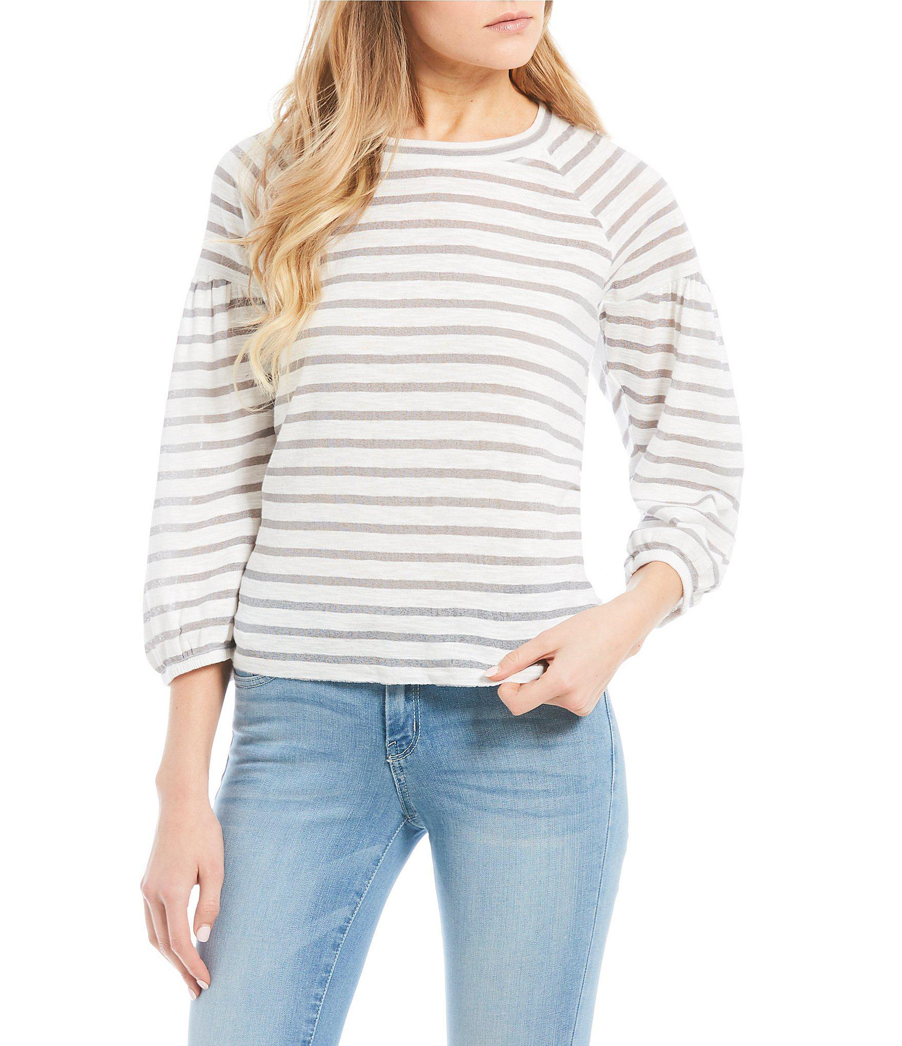 25ed60957e168a Lyst - Jessica Simpson Suwa Striped Balloon Sleeve Top in Gray