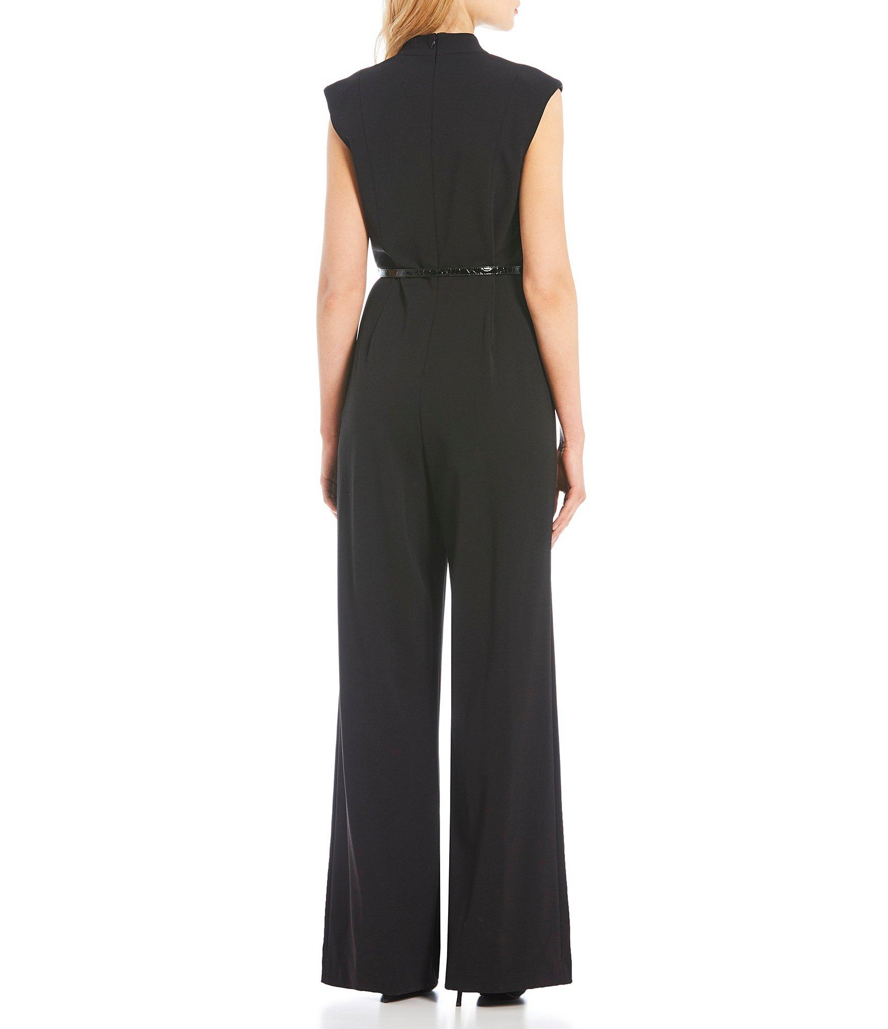 d93bef7317d Lyst - Calvin Klein Surplice V-neck Cap Sleeve Belted Jumpsuit in Black