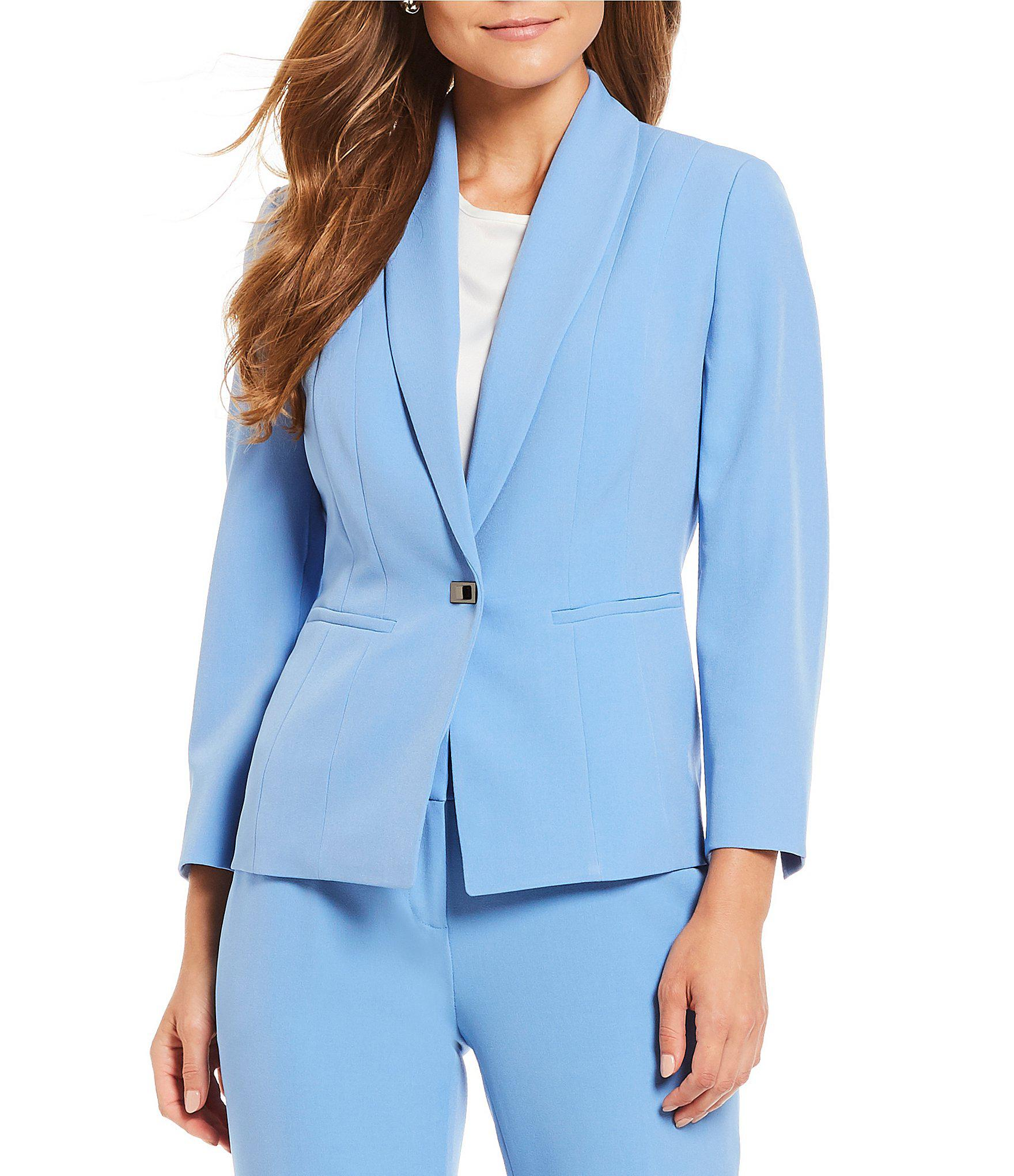 c43544deef9 Lyst - Kasper Petite Size Stretch Crepe Single Button Jacket in Blue