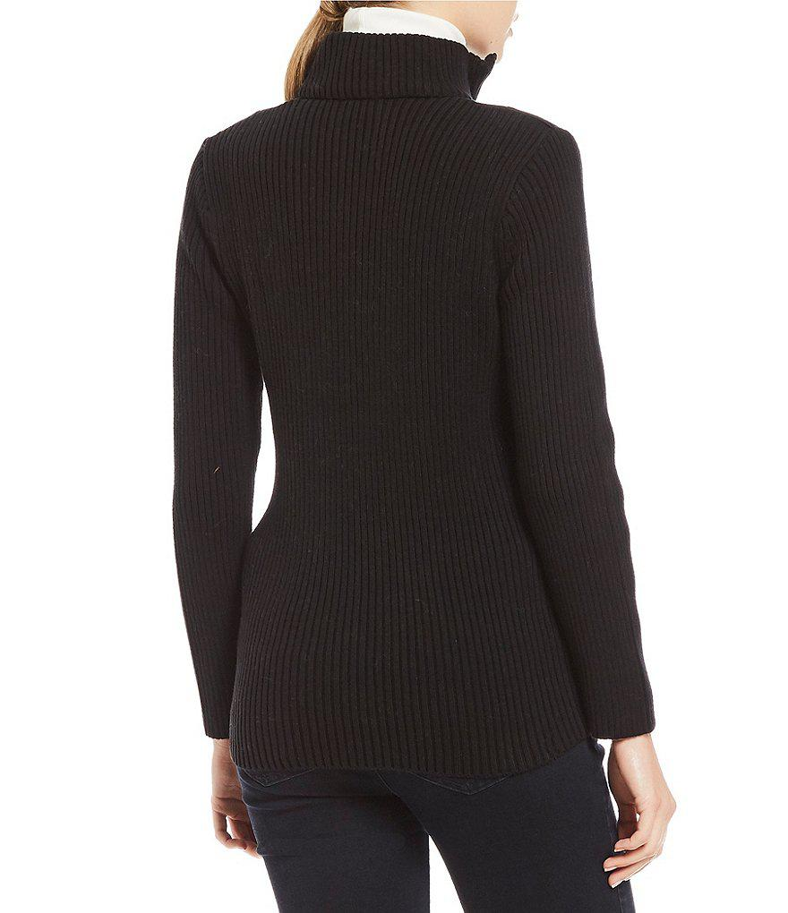 Jones new york Drawstring Waist Quilted Front Ribbed Sweater ...