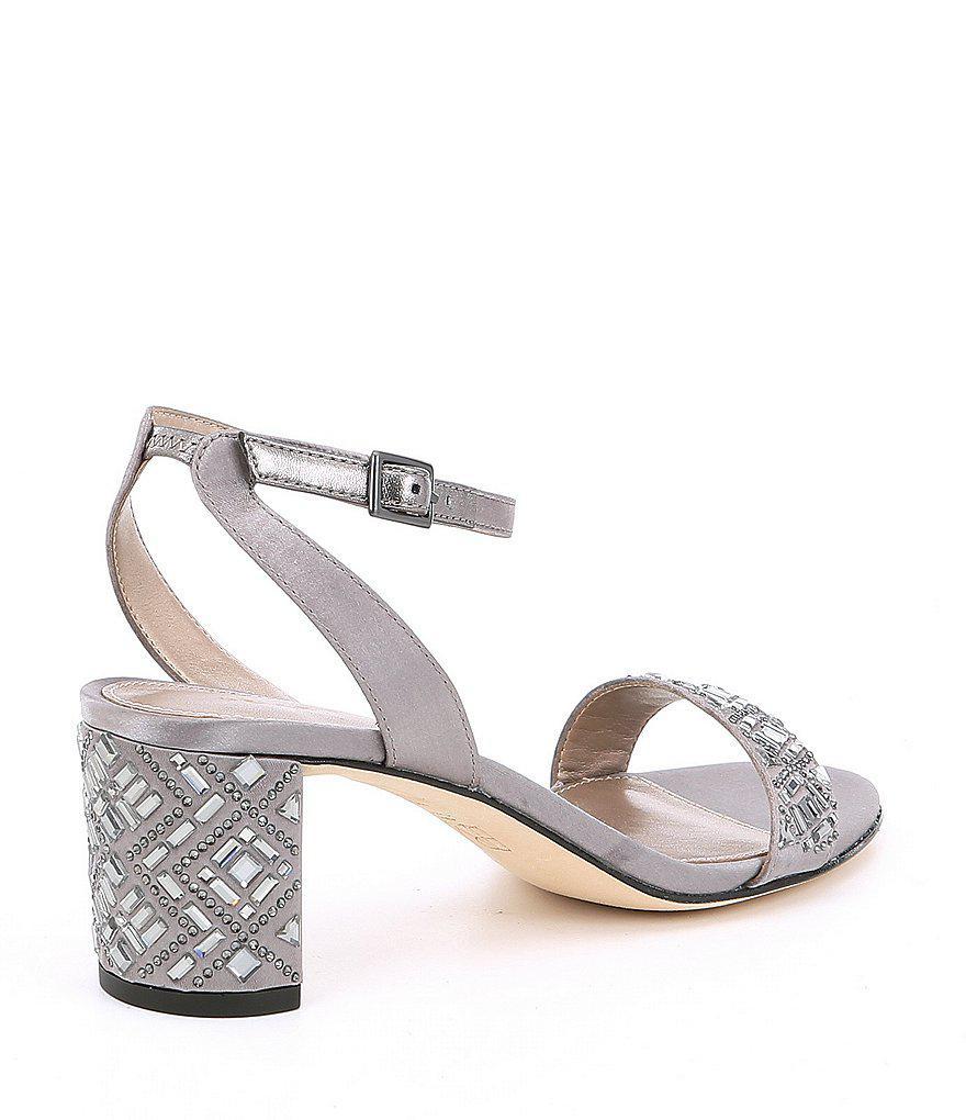 Pelle Moda Moira Metallic Satin Jeweled Dress Sandals UogmD2vjV